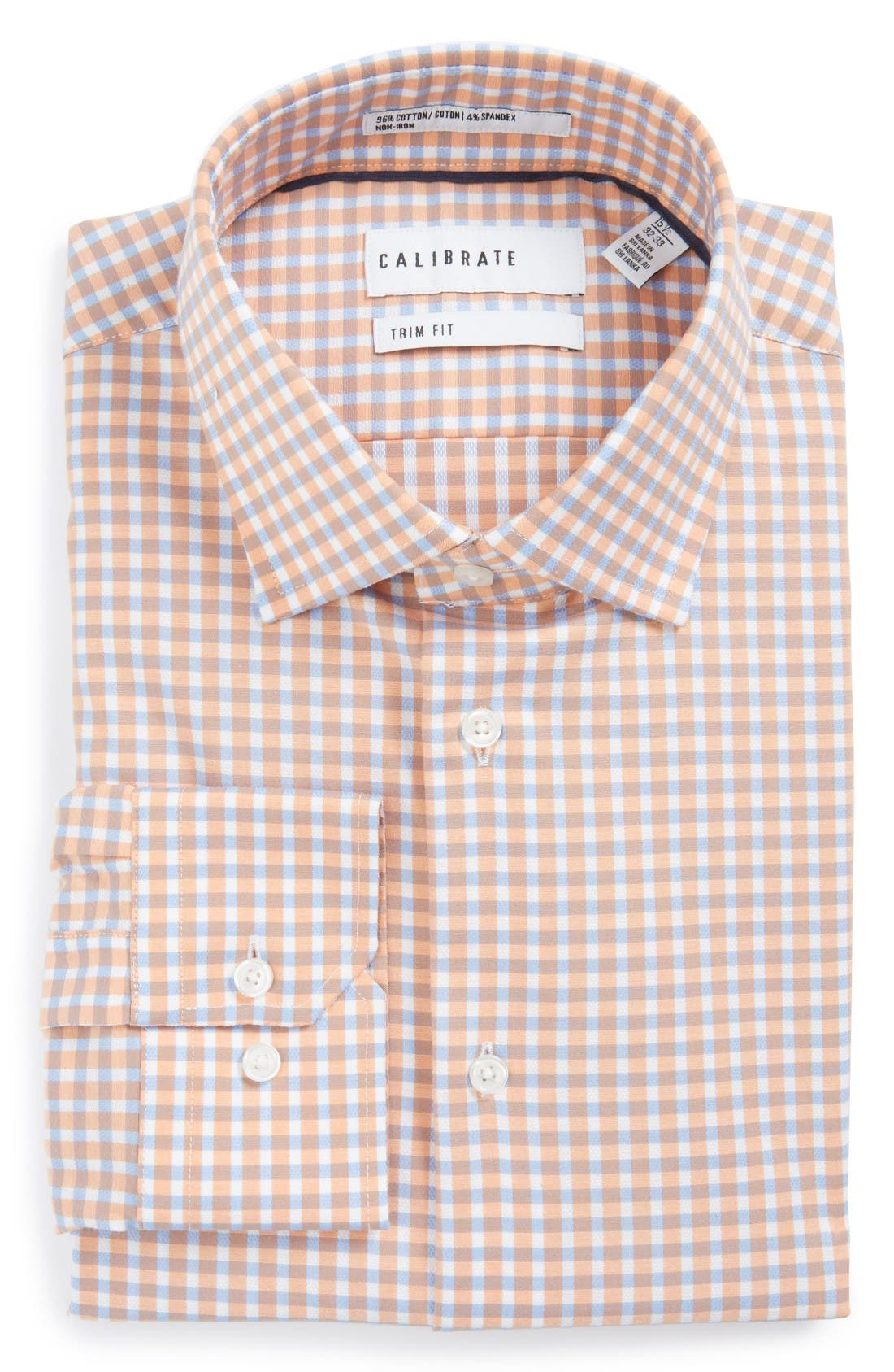 Alternate Image 1 Selected - Calibrate Trim Fit Non-Iron Check Stretch Dress Shirt
