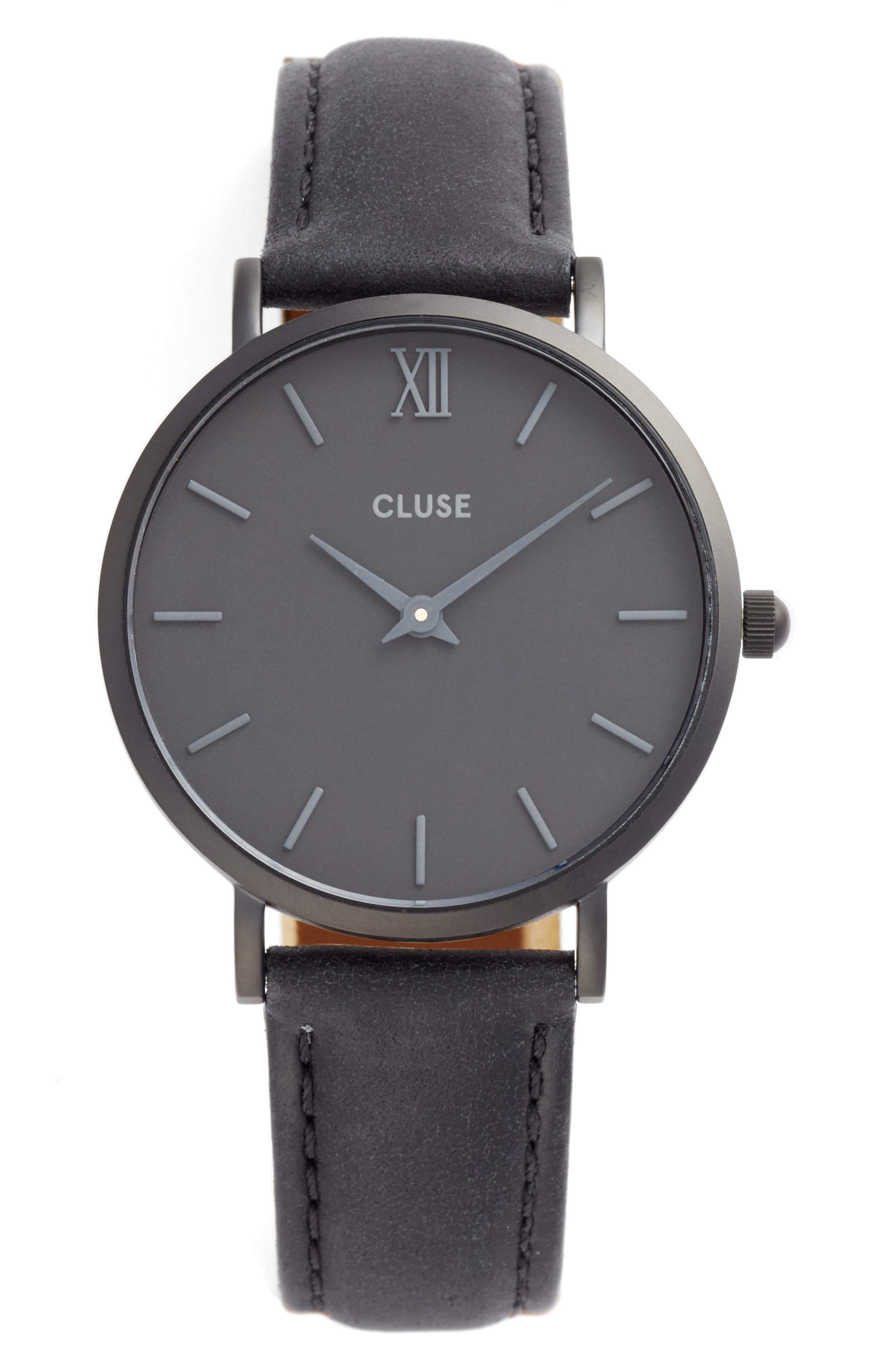 CLUSE 'Minuit' Leather Strap Watch, 33mm
