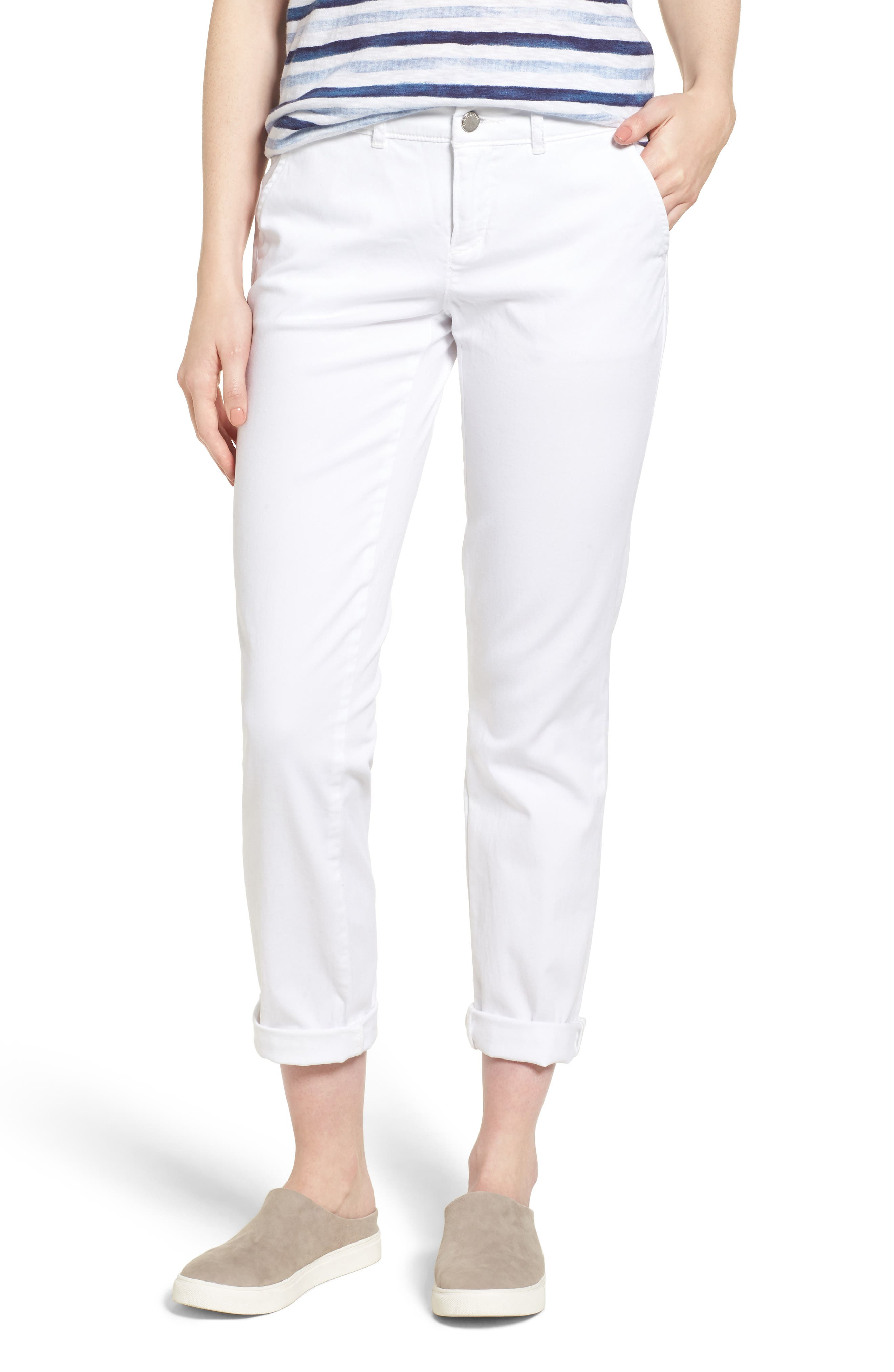Caslon® Boyfriend Chinos (Regular & Petite)
