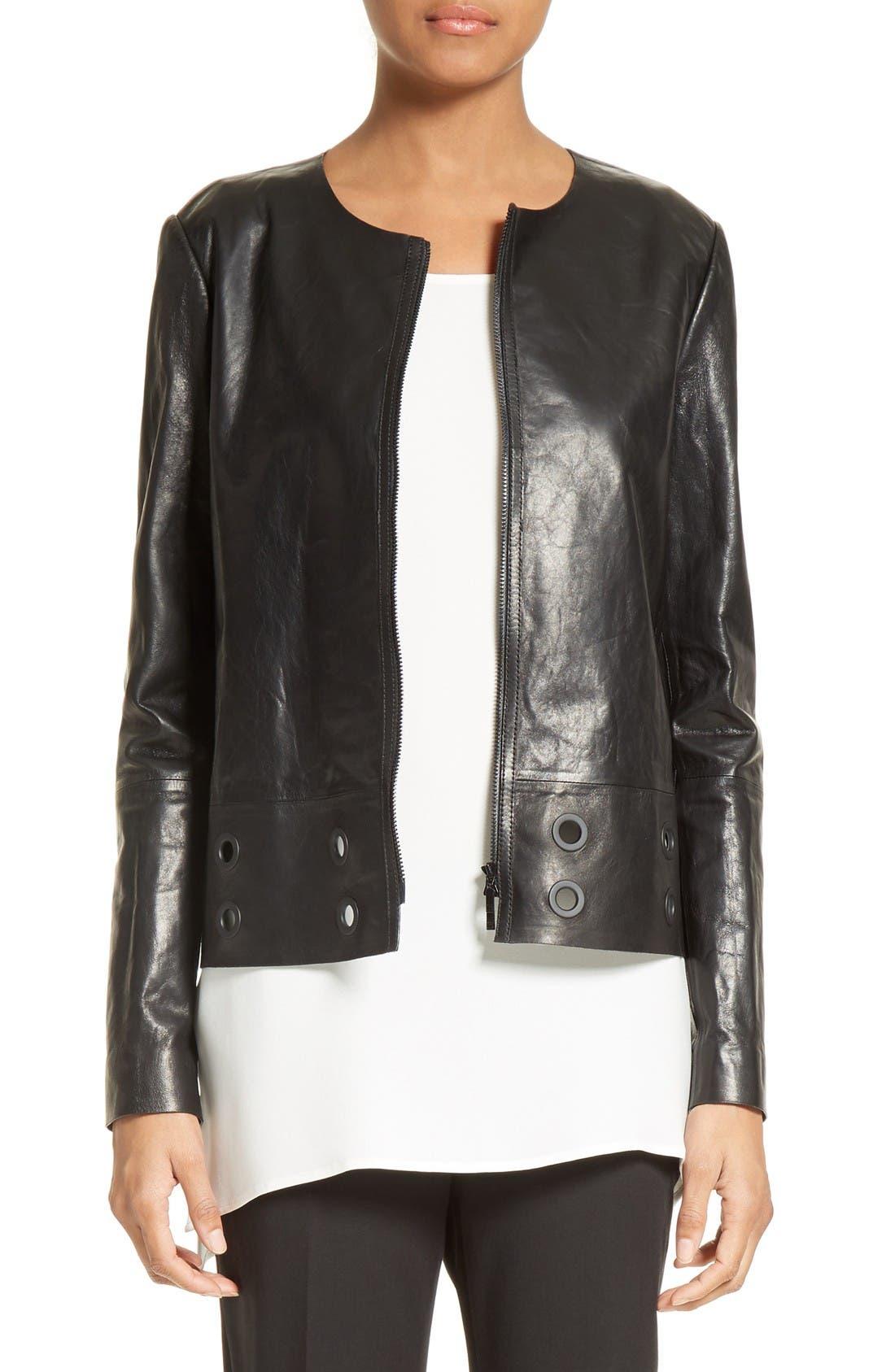 LAFAYETTE 148 NEW YORK Santino Cutout Leather Jacket