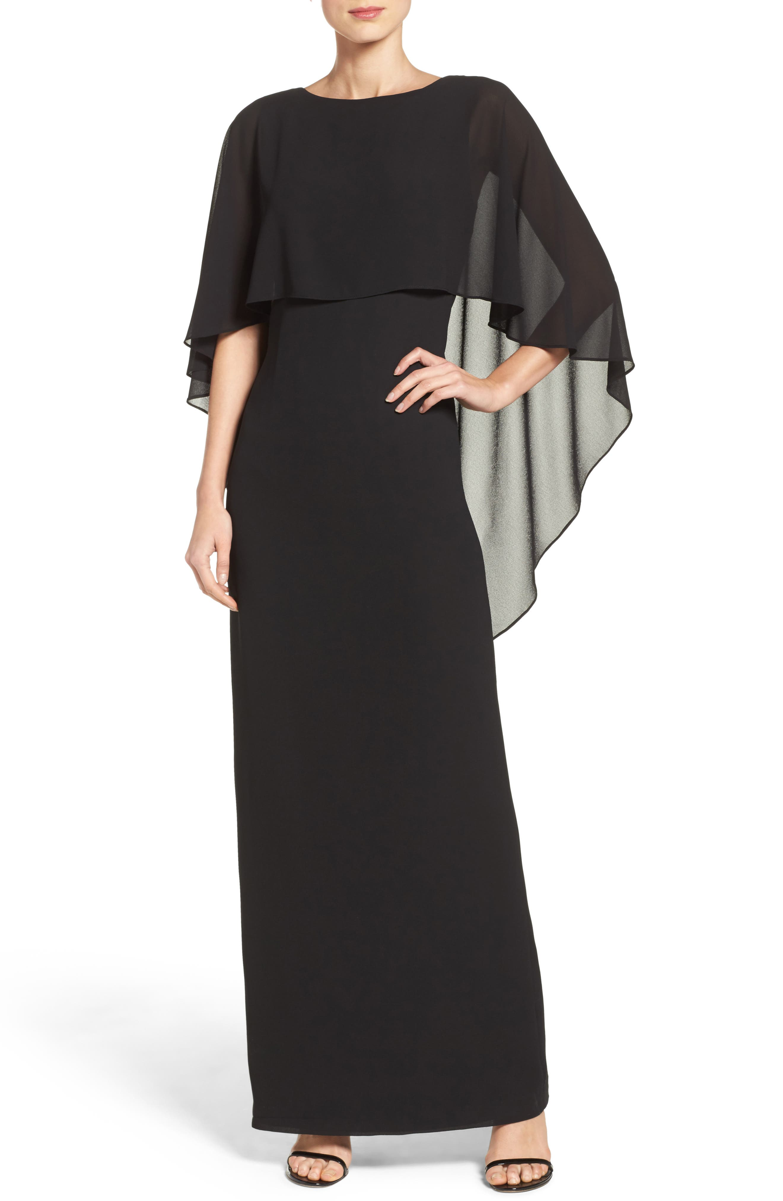 Alternate Image 1 Selected - Vince Camuto Cape Overlay Gown