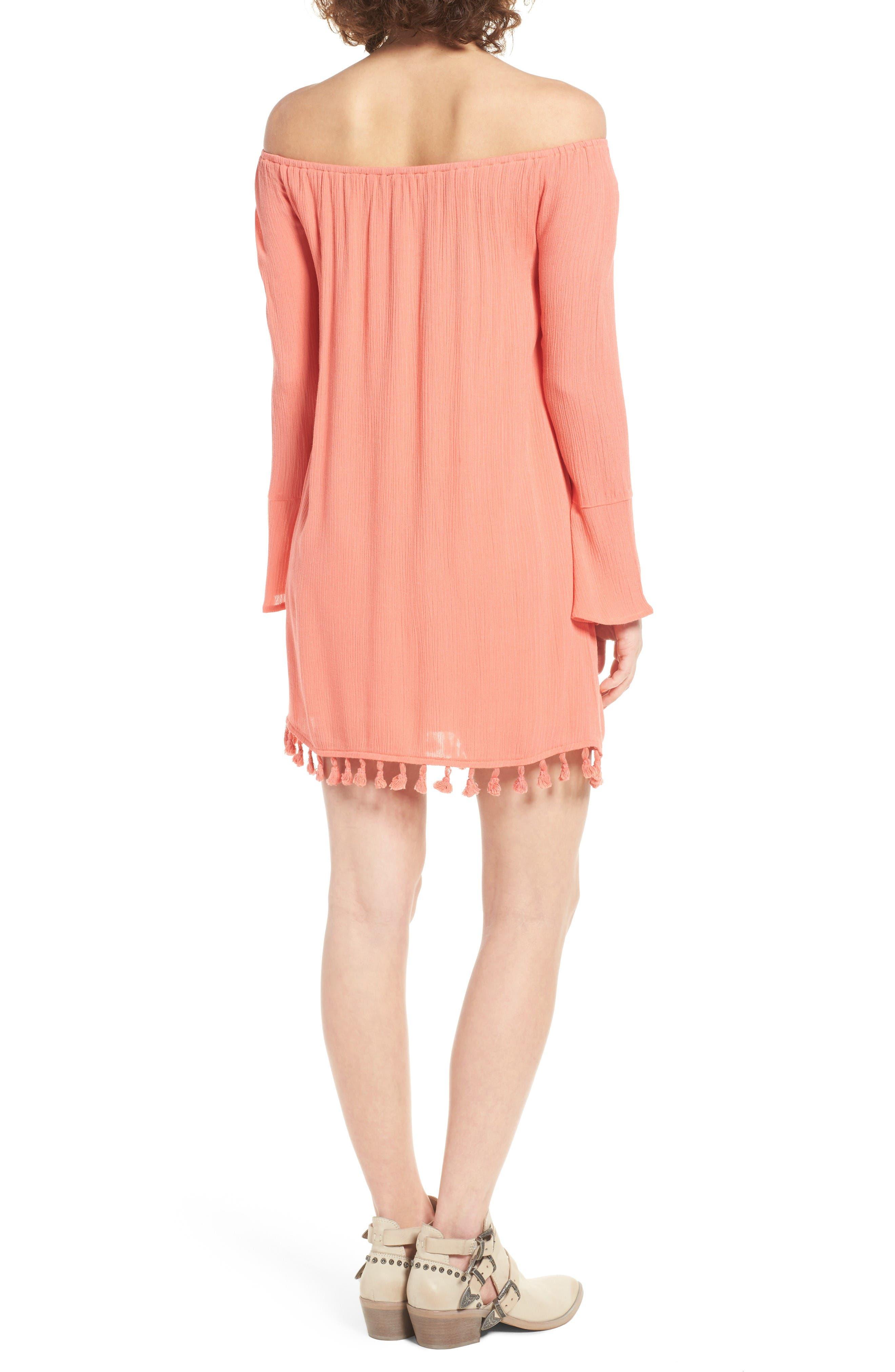 Alternate Image 2  - Dee Elly Tassel Trim Off the Shoulder Dress