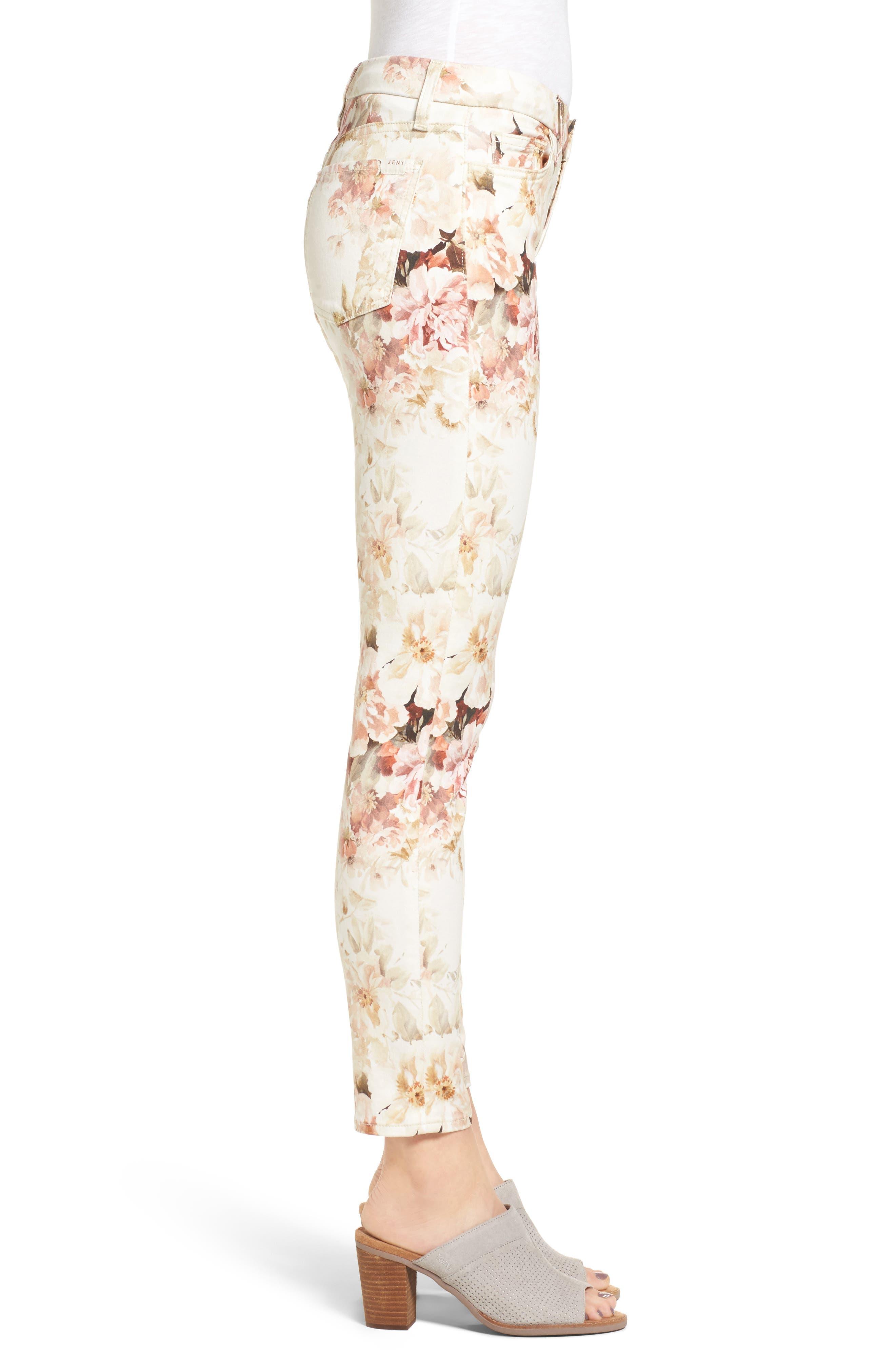 Alternate Image 3  - Jen7 Floral Print Stretch Ankle Skinny Jeans (Vintage Garden)