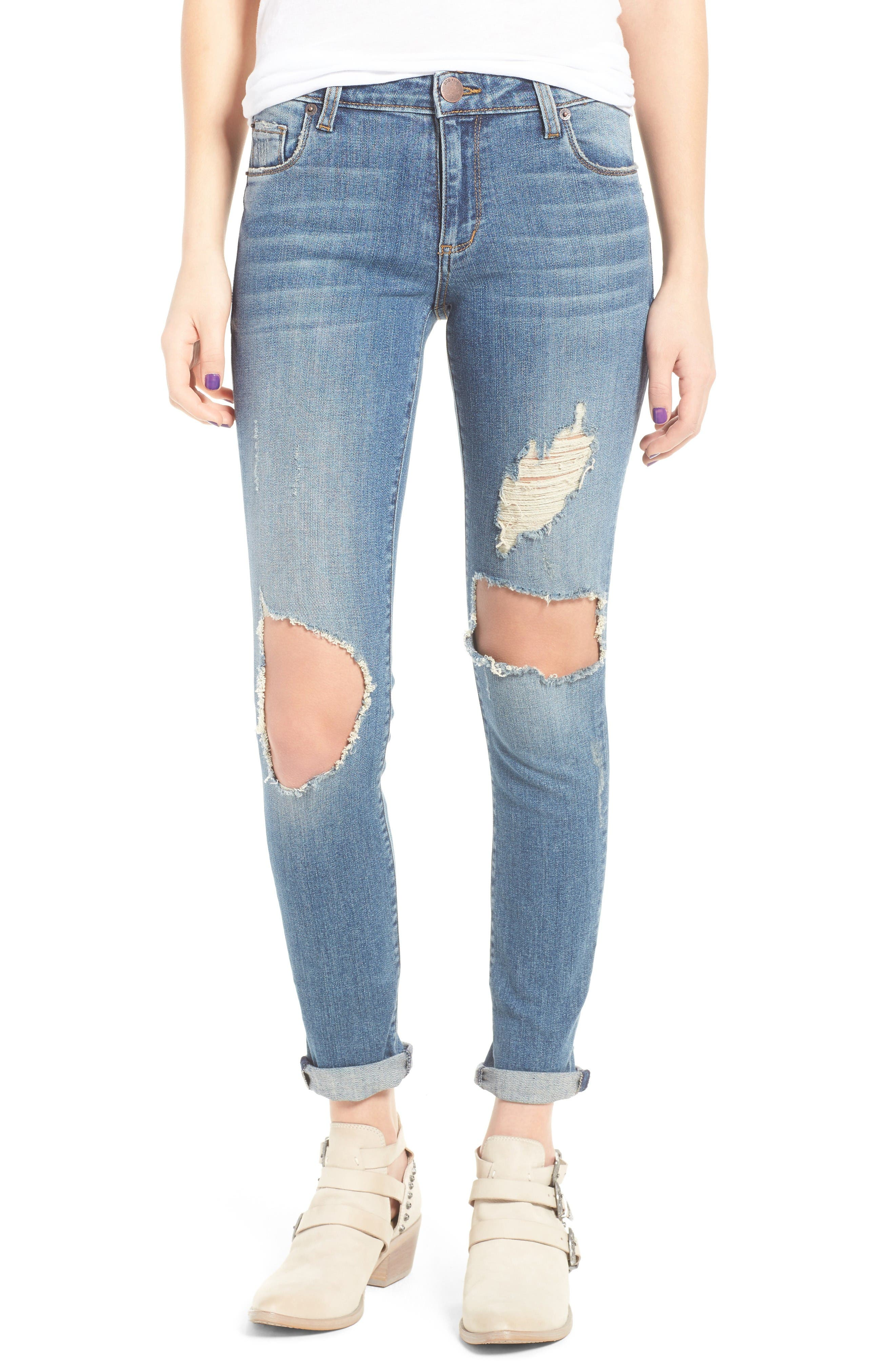 Alternate Image 1 Selected - STS Blue Taylor Ripped Boyfriend Jeans (Fern Canyon)
