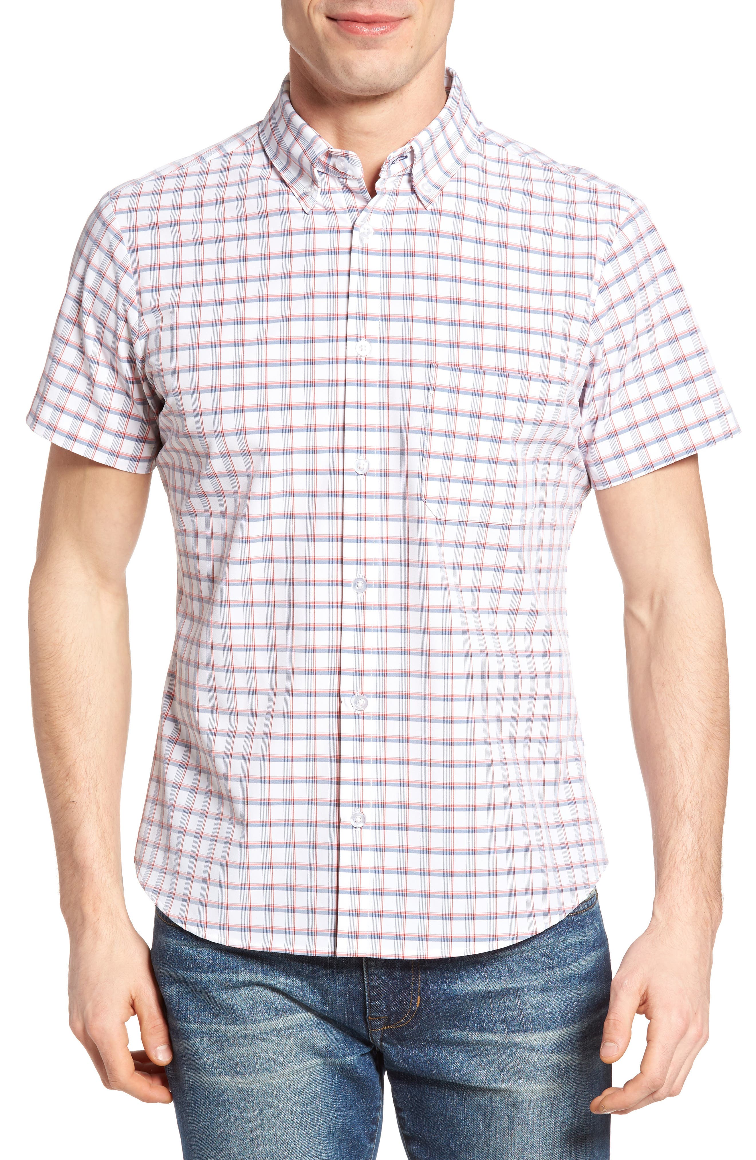 Mizzen+Main Sanford Slim Fit Plaid Performance Sport Shirt