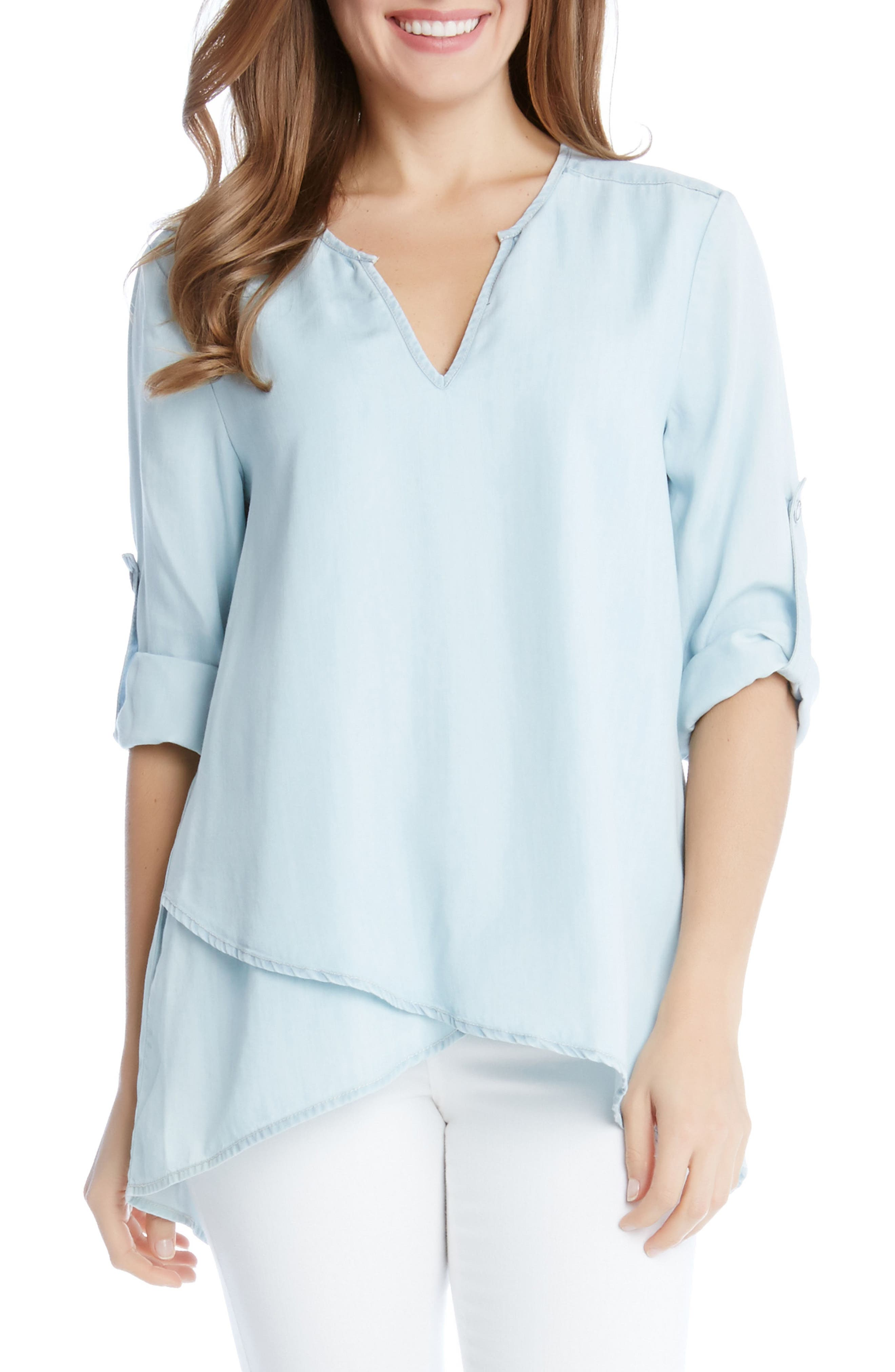 KAREN KANE Wrap Hem Chambray Top