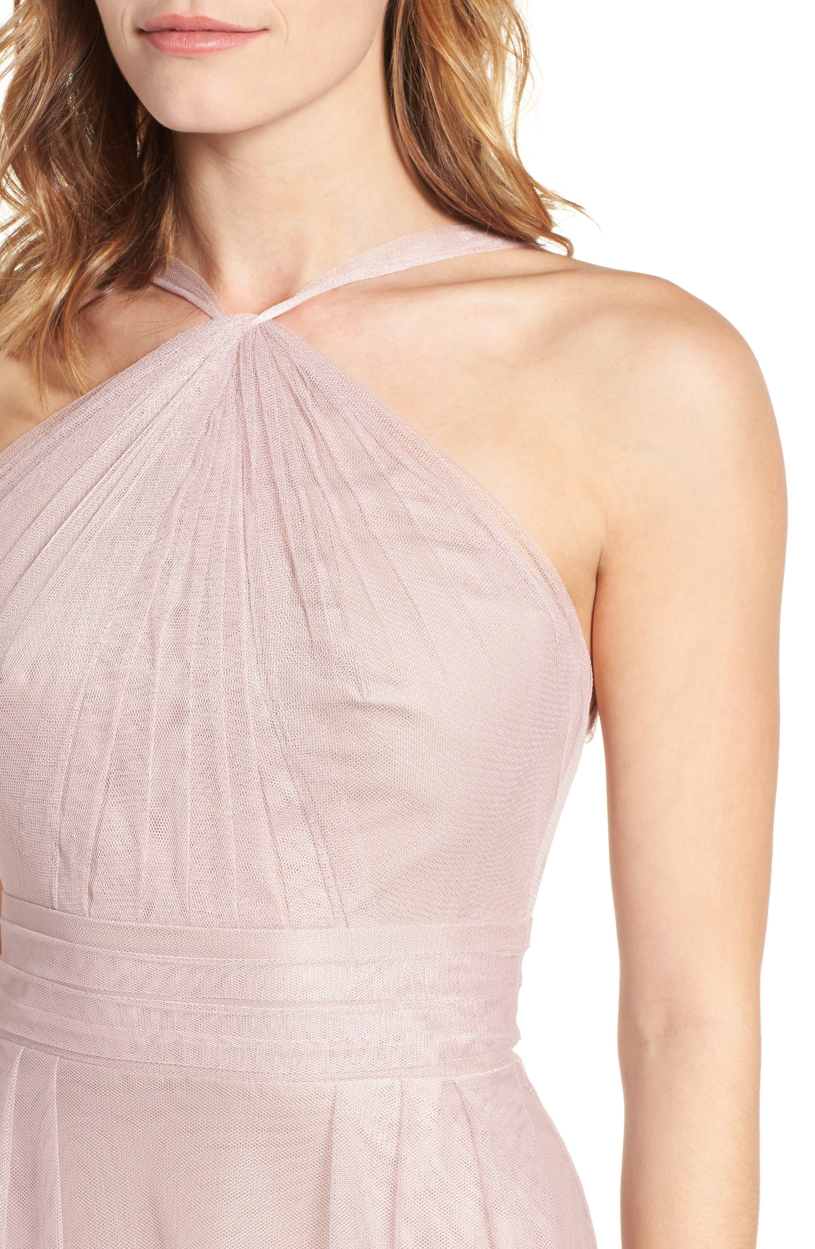Alternate Image 5  - Monique Lhuillier Bridesmaids Tulle Halter Style Gown