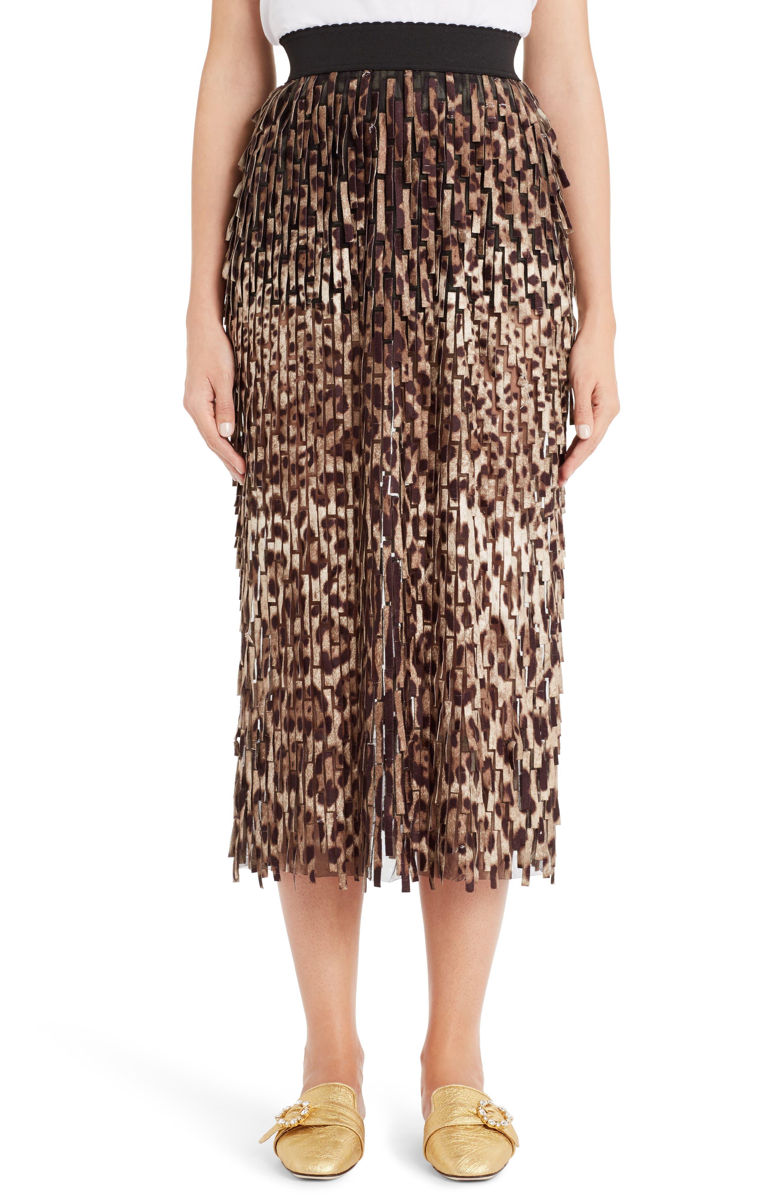DOLCE&GABBANA Leopard Print Fringe Pencil Skirt