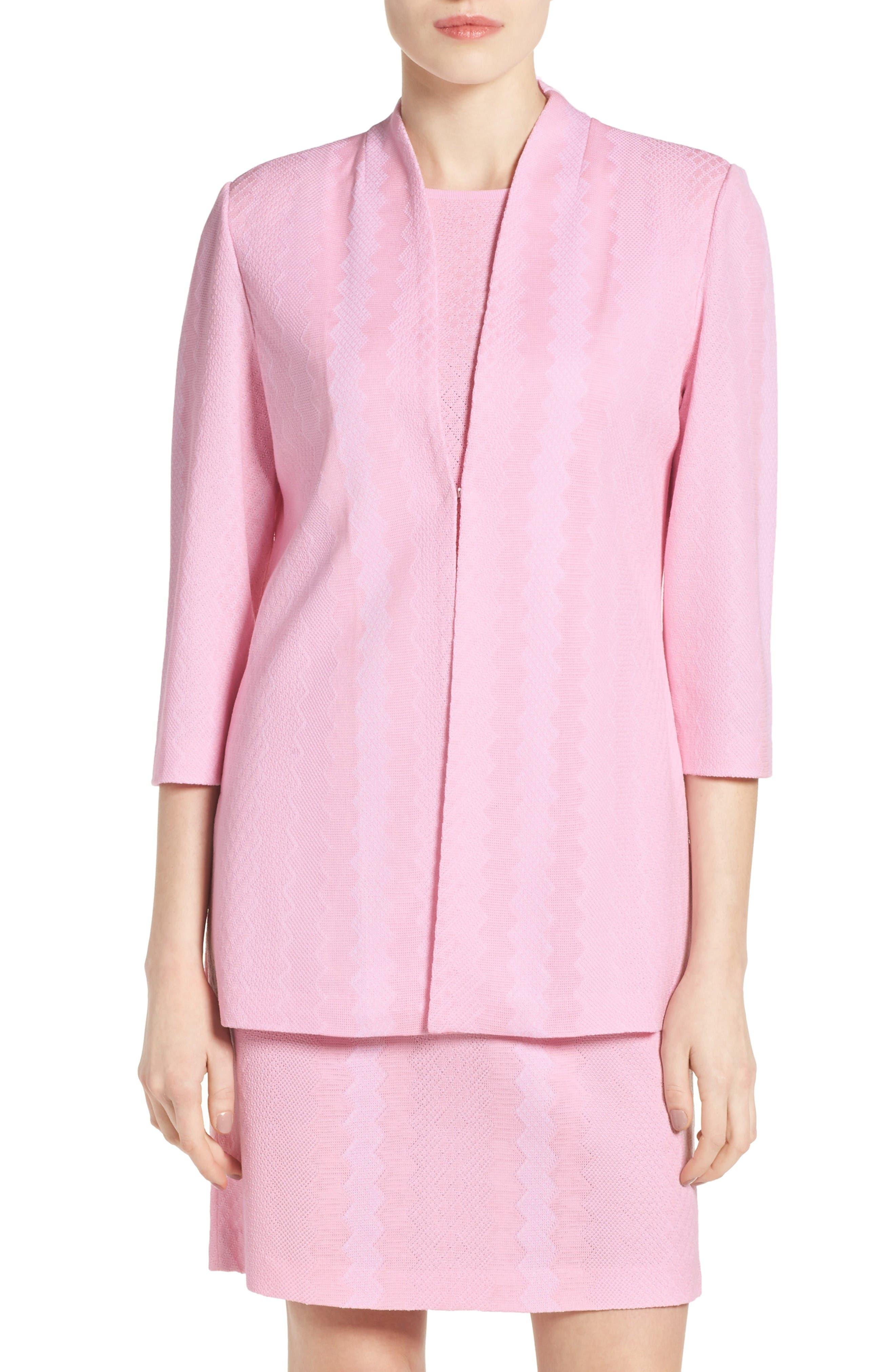 MING WANG Texture Knit Mandarin Collar Jacket