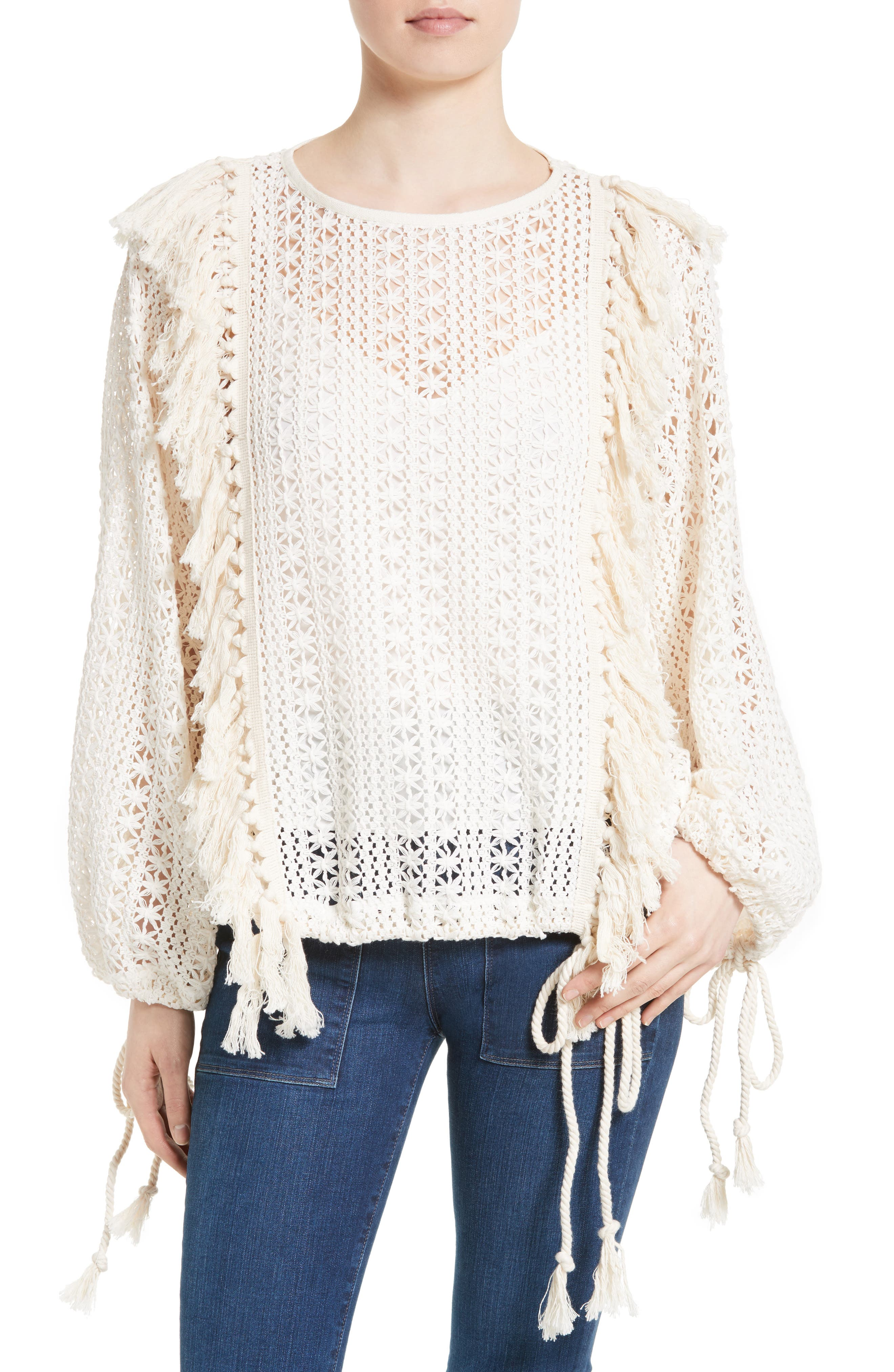 SEE BY CHLOÉ Fishnet Lace & Fringe Top