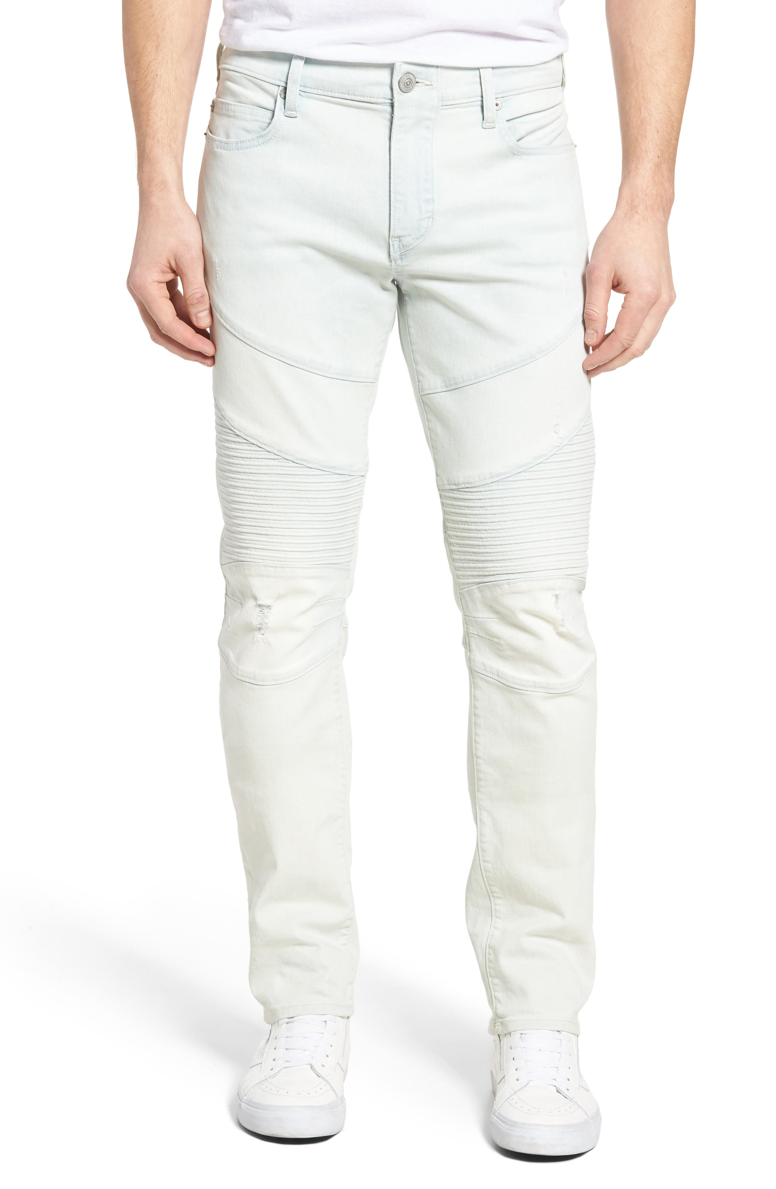 Alternate Image 1 Selected - True Religion Brand Jeans Rocco Skinny Fit Moto Jeans (Light Daze)