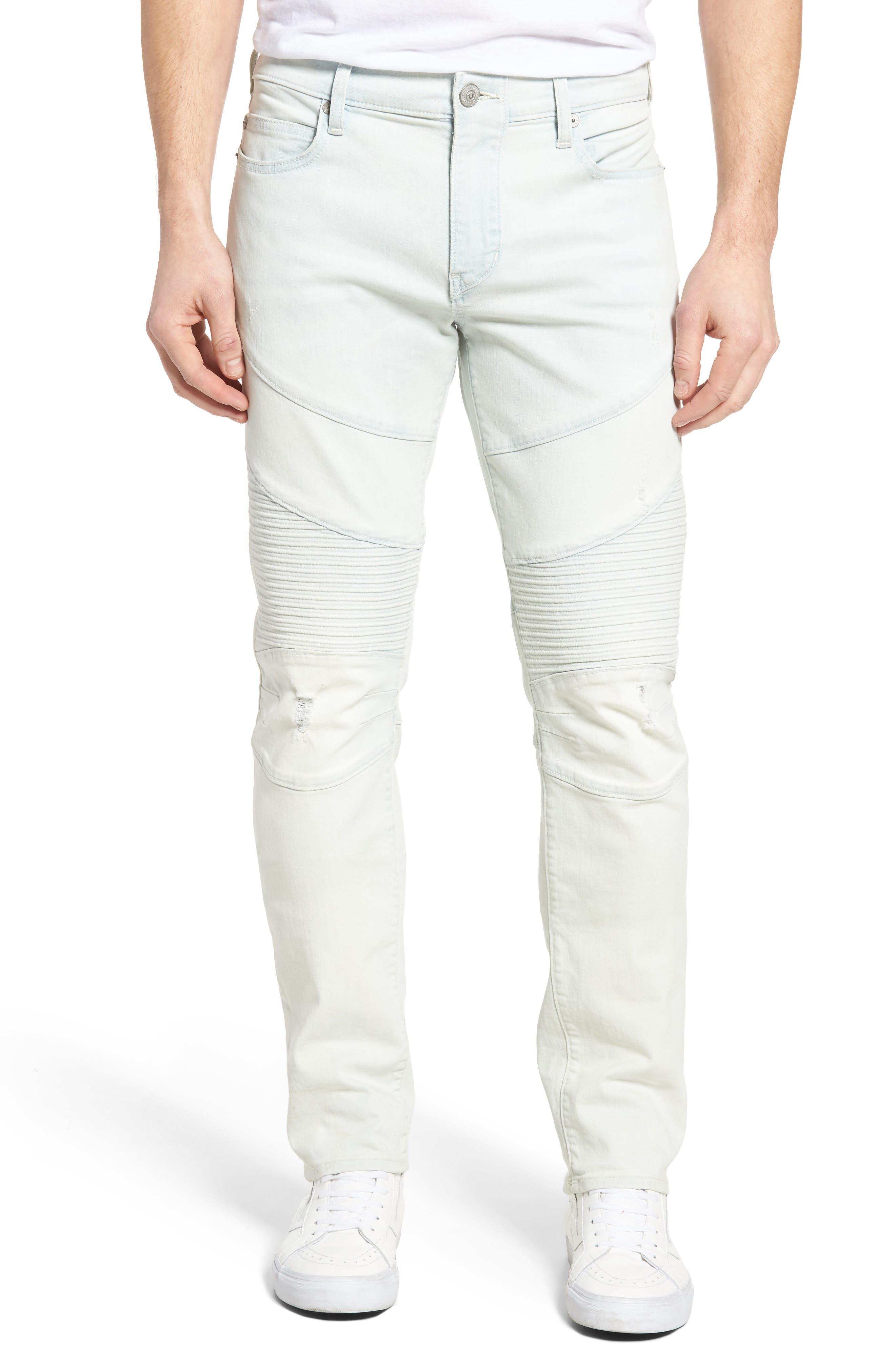 Main Image - True Religion Brand Jeans Rocco Skinny Fit Moto Jeans (Light Daze)