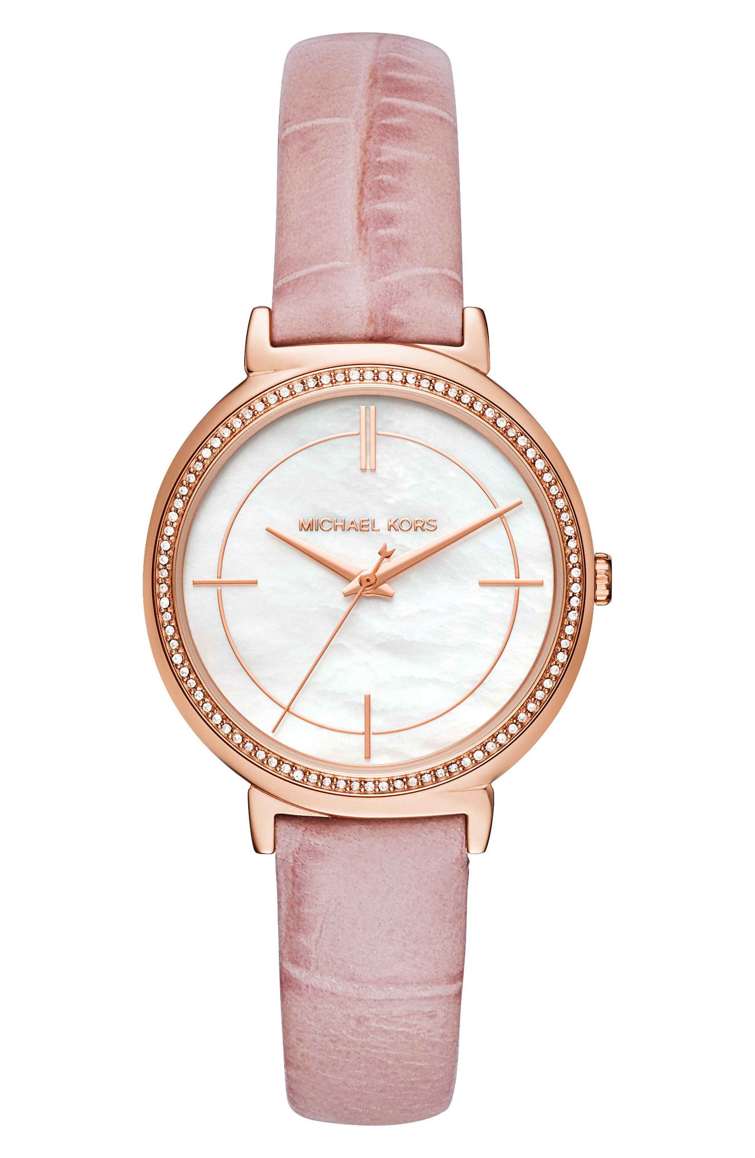 Michael Kors Cinthia Leather Strap Watch, 33mm