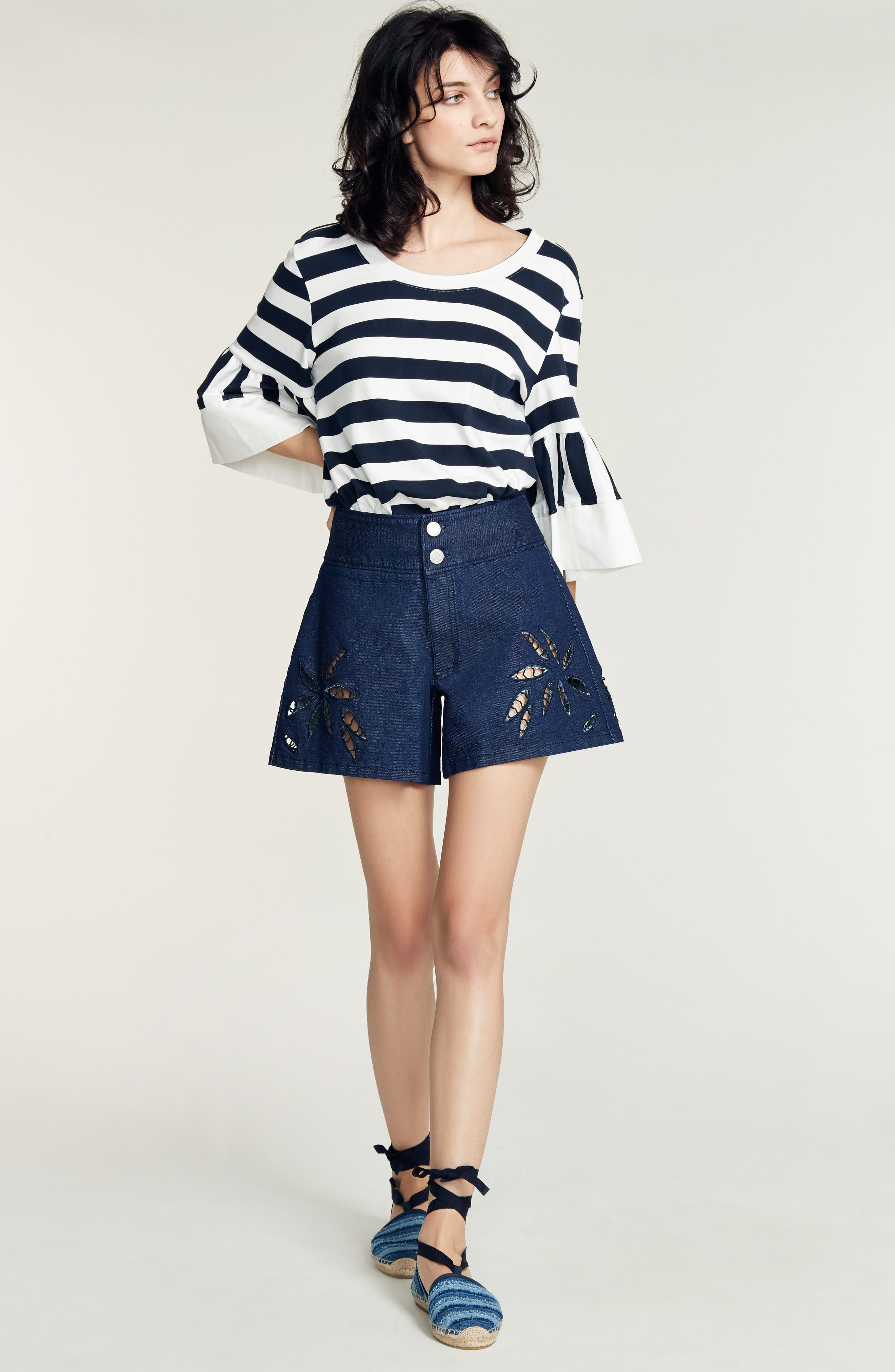 Alternate Image 2  - See by Chloé Stripe Jersey Bell Sleeve Top (Nordstrom Exclusive)