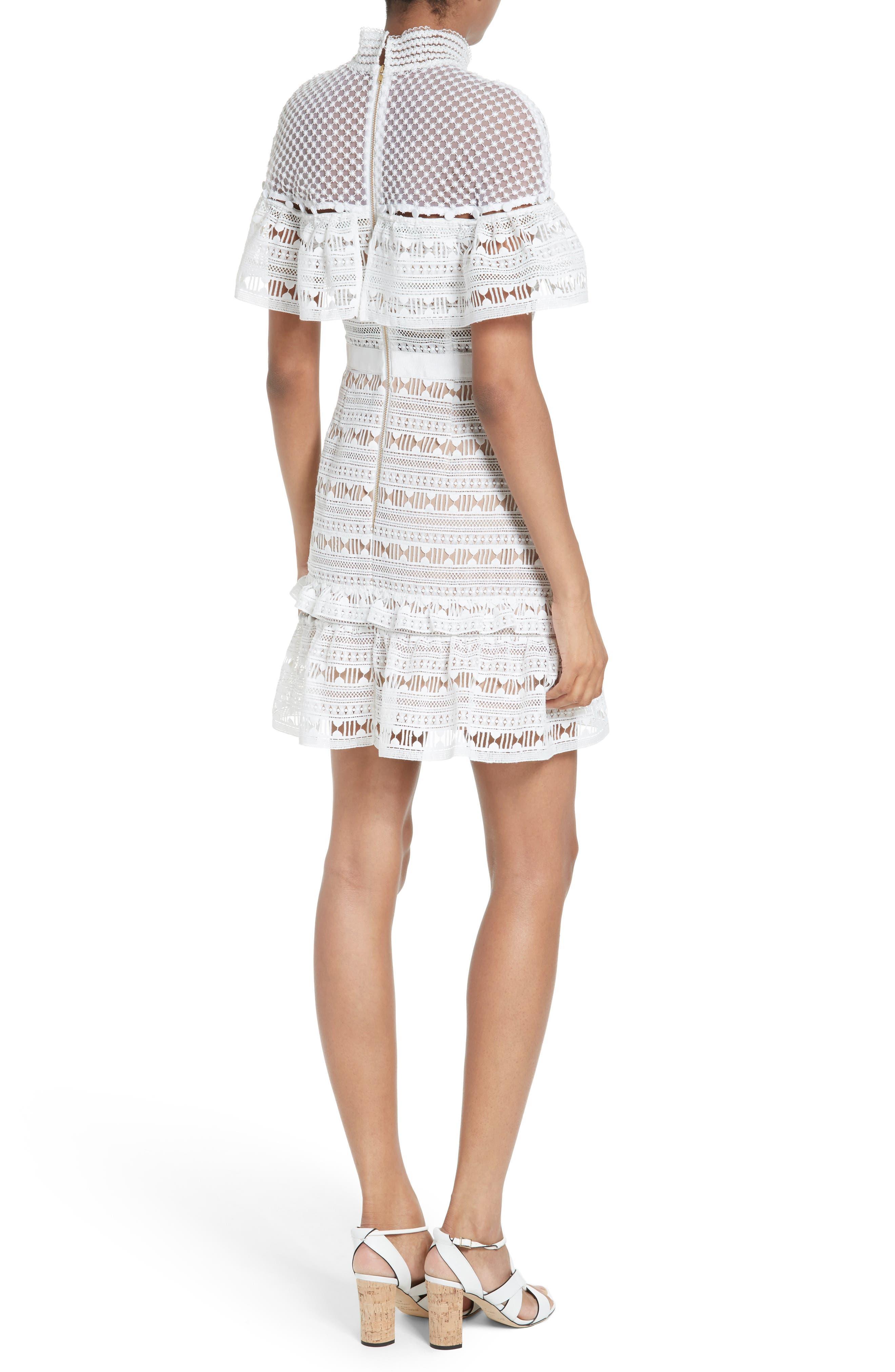 Alternate Image 2  - Self-Portrait Ruffle Sleeve Lace Dress