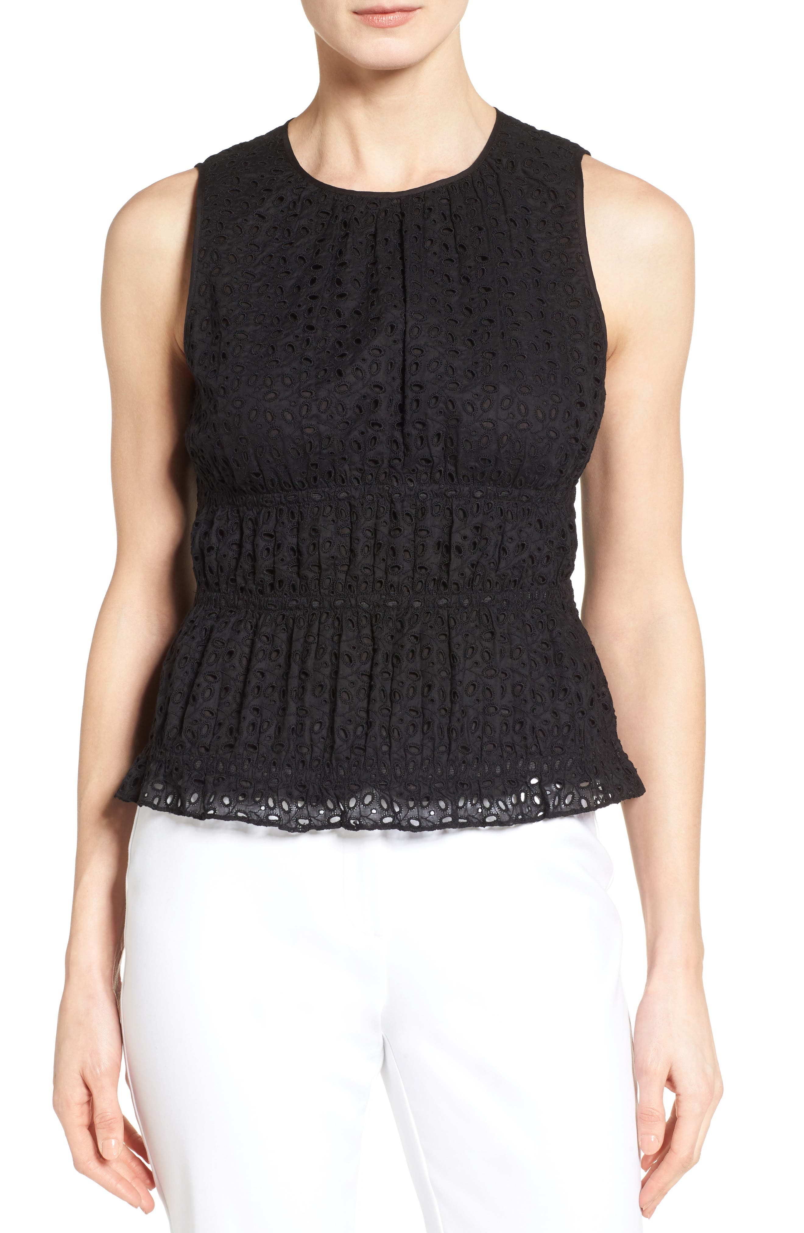 Classiques Entier® Smocked Eyelet Shell