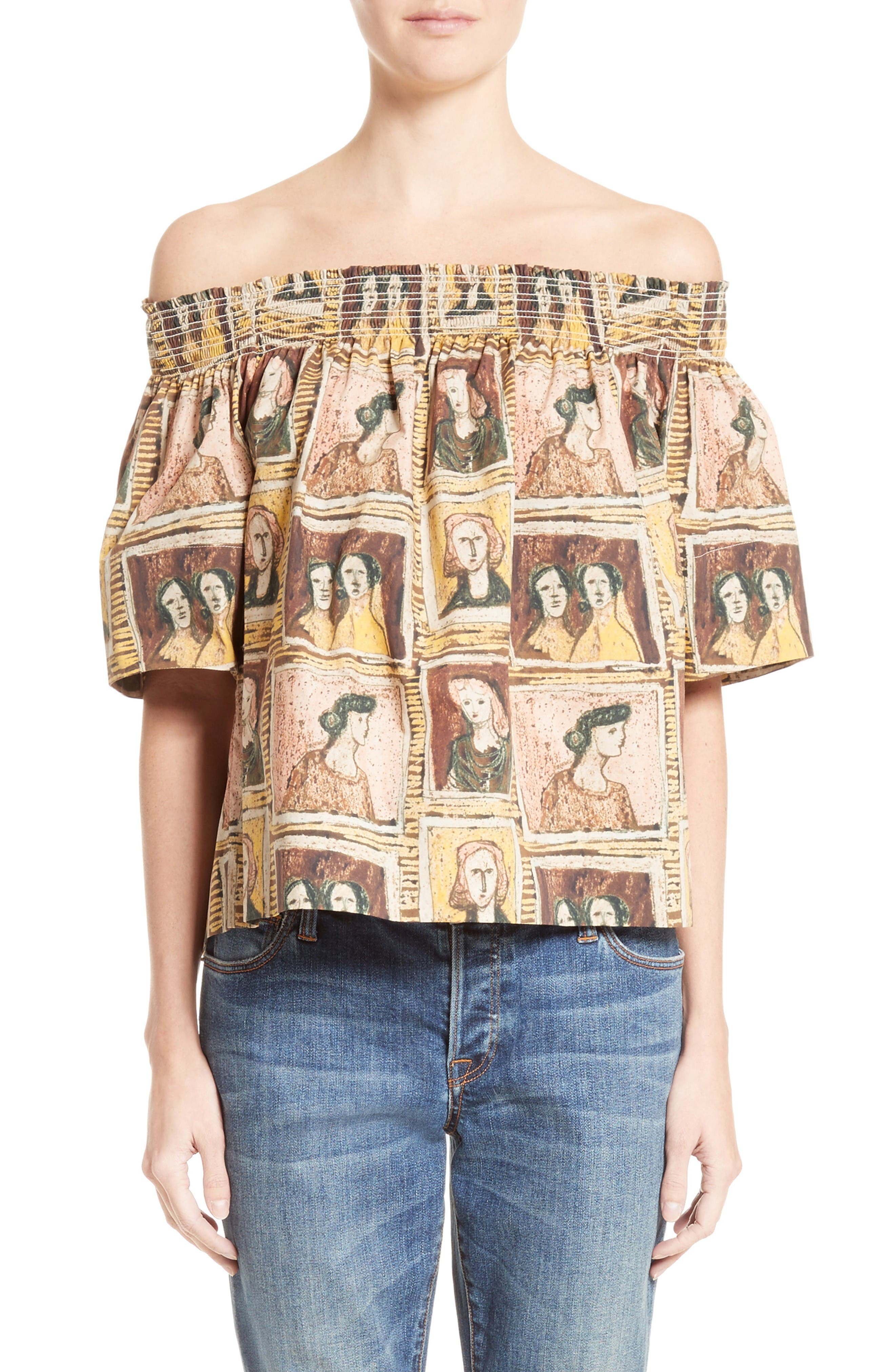 Burberry Gerber Print Off-the-Shoulder Top