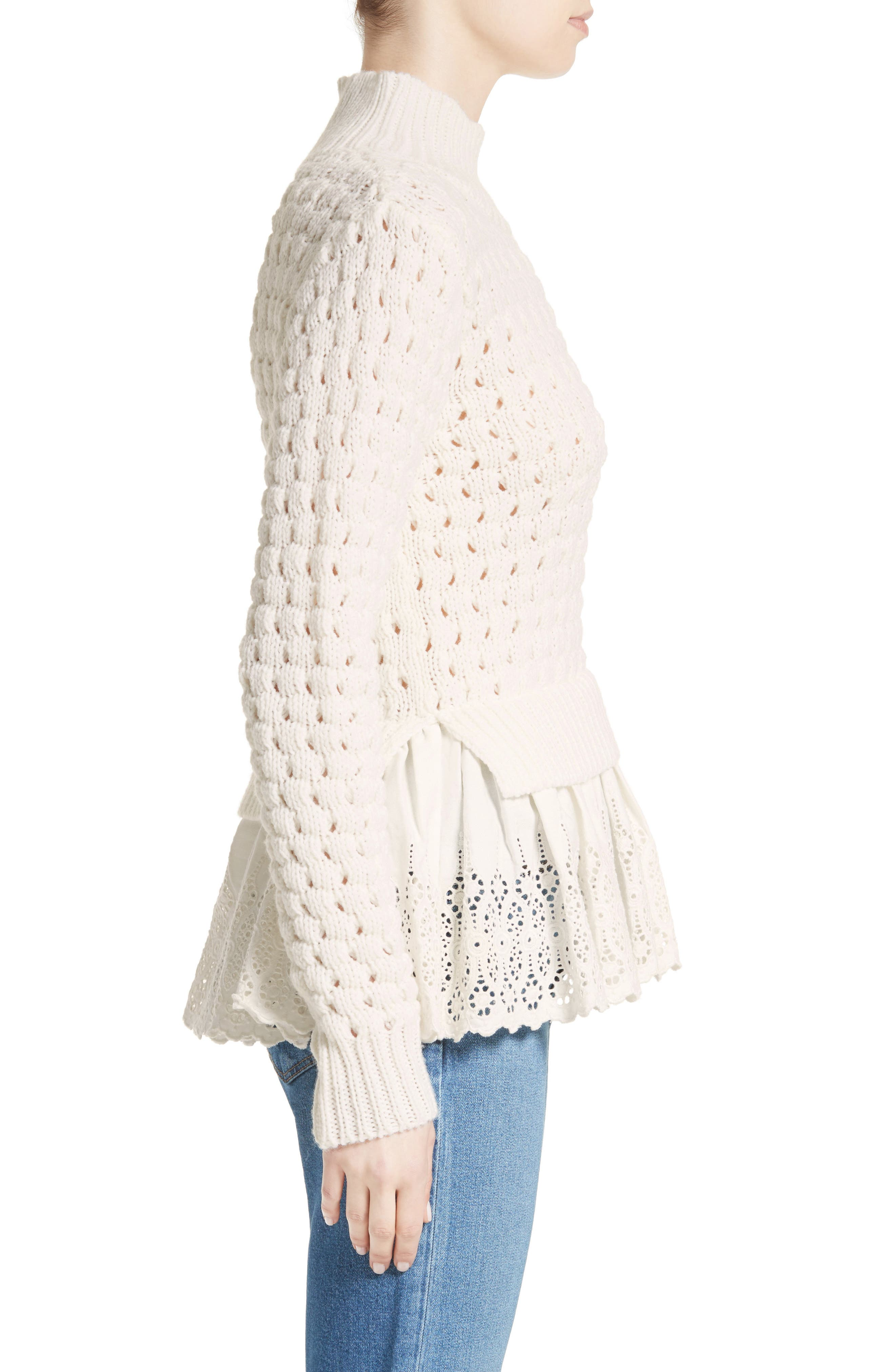 Alternate Image 4  - Rebecca Taylor Eyelet Mock Neck Sweater