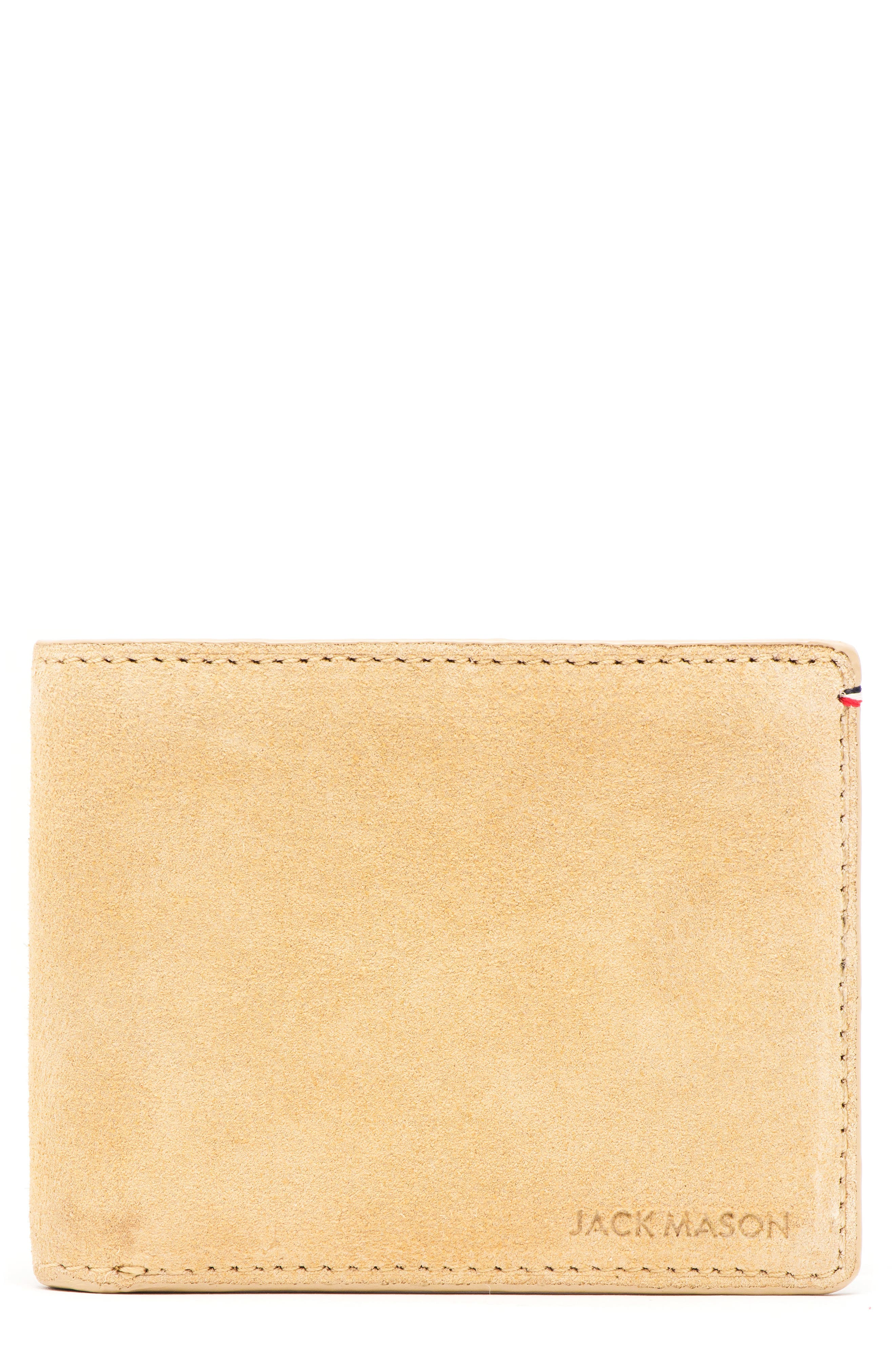 JACK MASON Suede & Leather Bifold Wallet