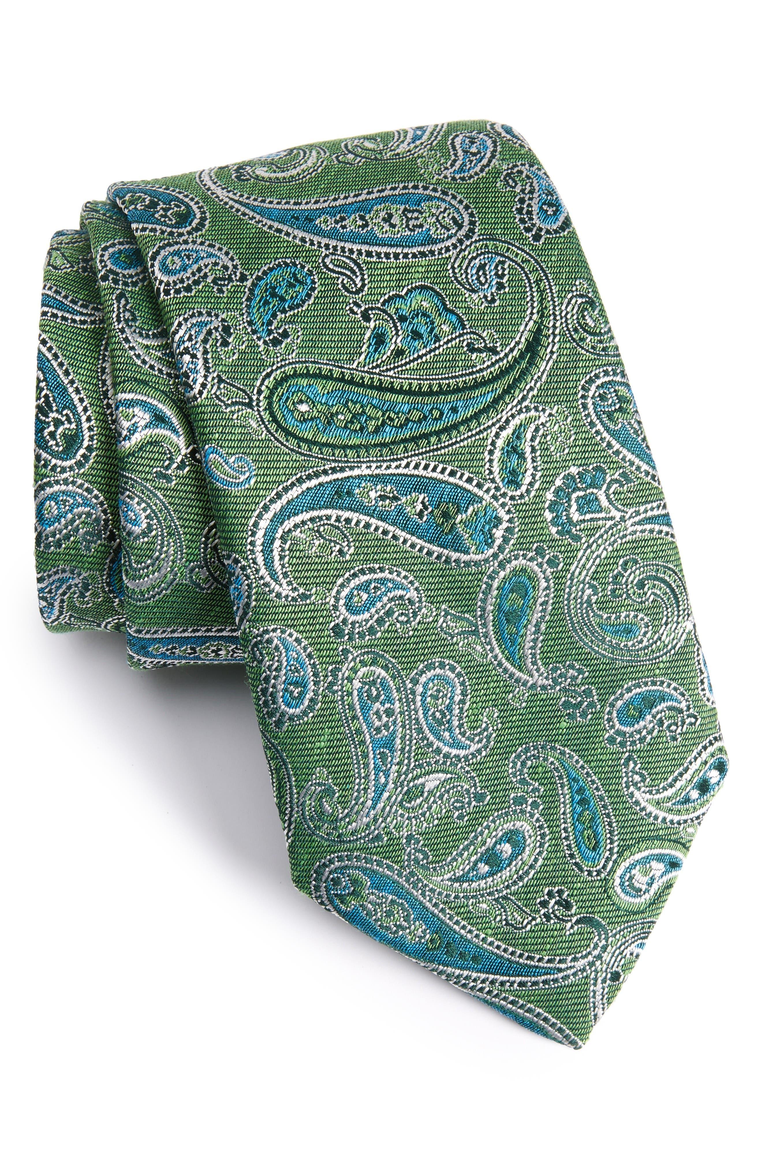 DAVID DONAHUE Paisley Linen & Silk Tie