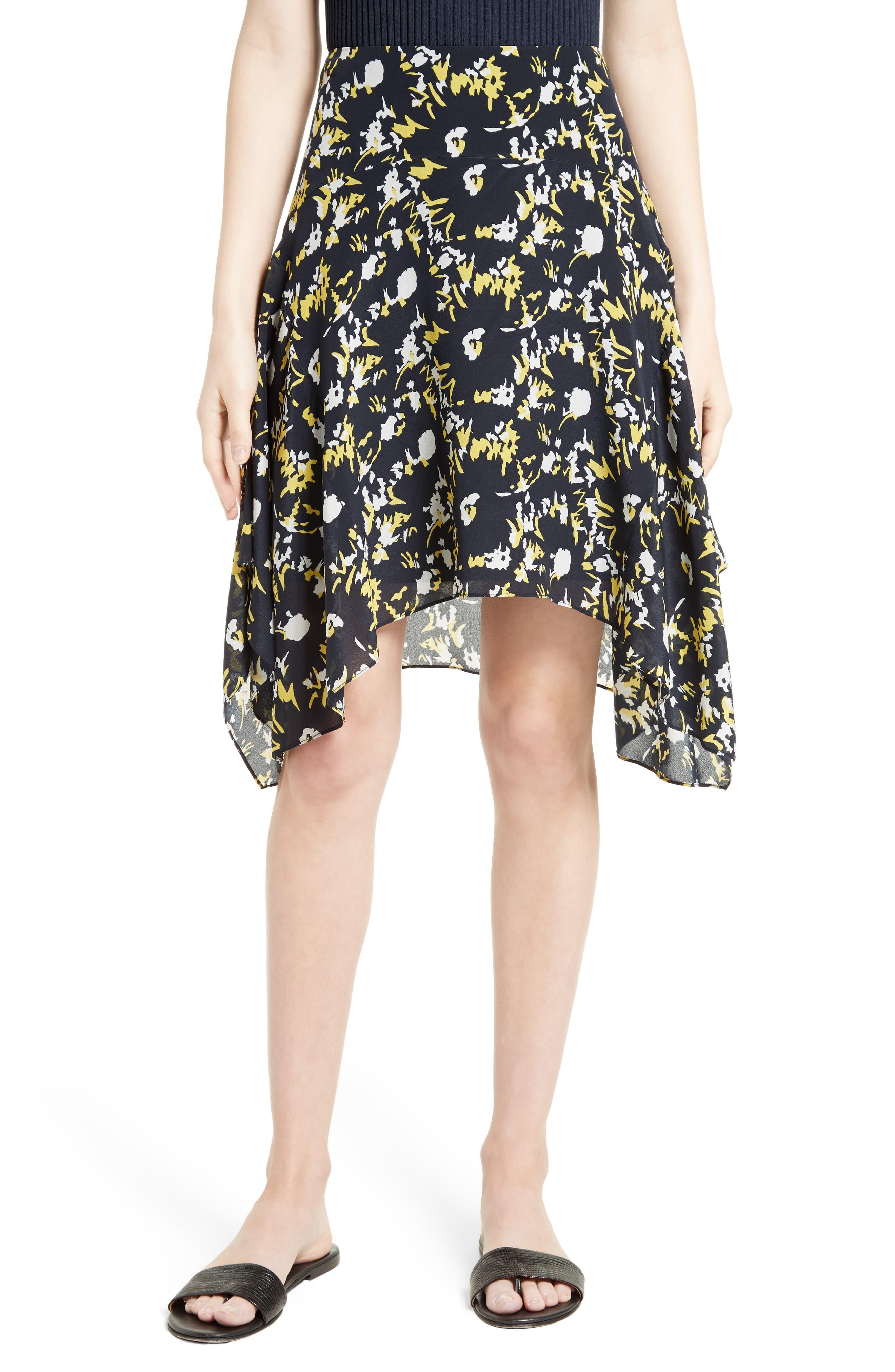 GREY JASON WU Handkerchief Hem Print Silk Skirt