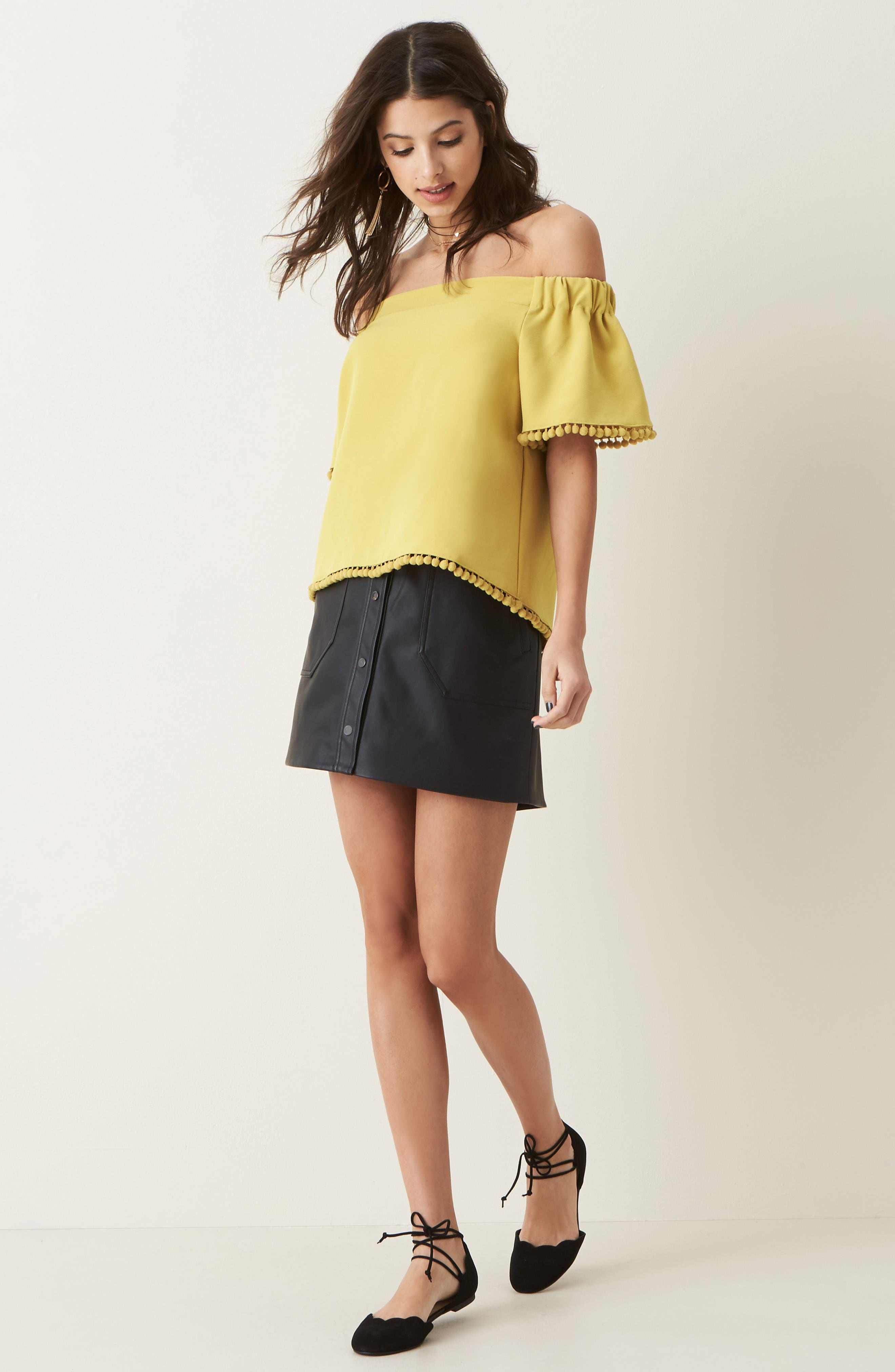 Alternate Image 2  - Willow & Clay Pompom Off the Shoulder Top