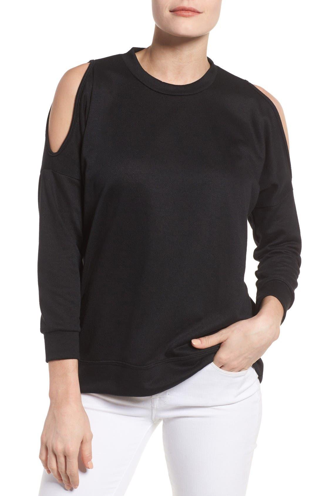Main Image - Bobeau Cold Shoulder Sweatshirt