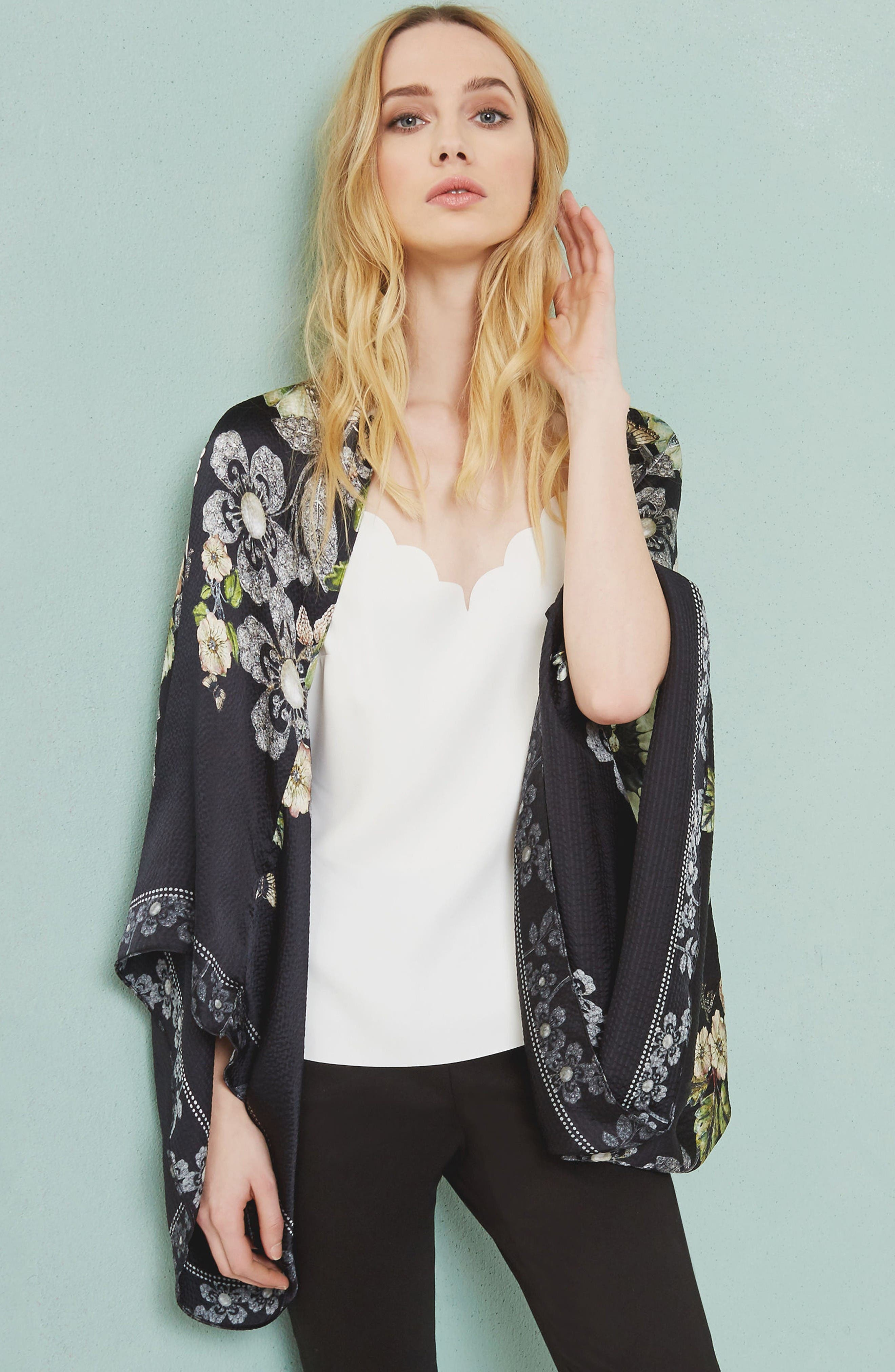 Alternate Image 6  - Ted Baker London Gem Gardens Cape Scarf