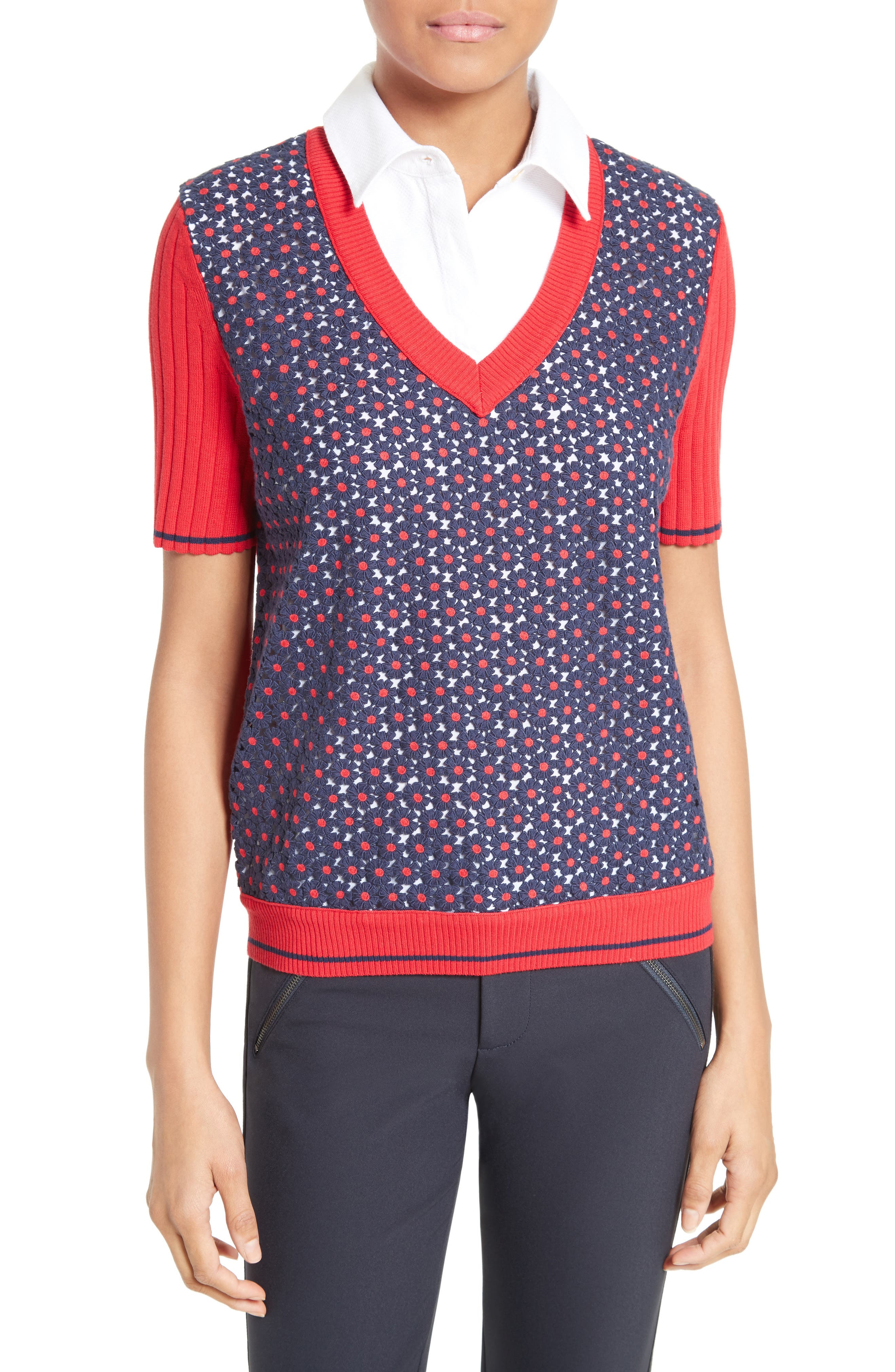 Tory Burch Marcel Layered Look Pullover