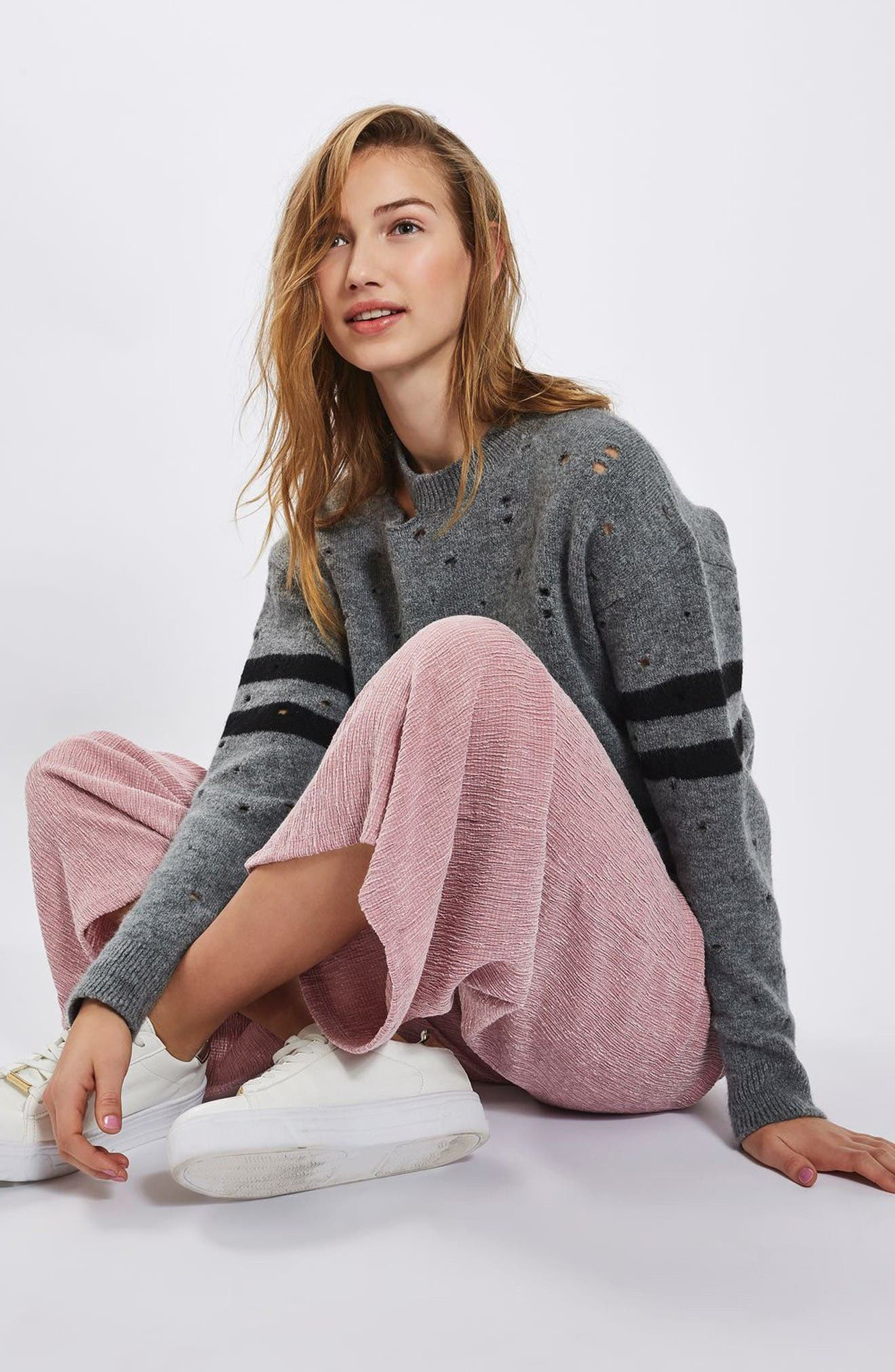 Alternate Image 2  - Topshop Textured Trousers