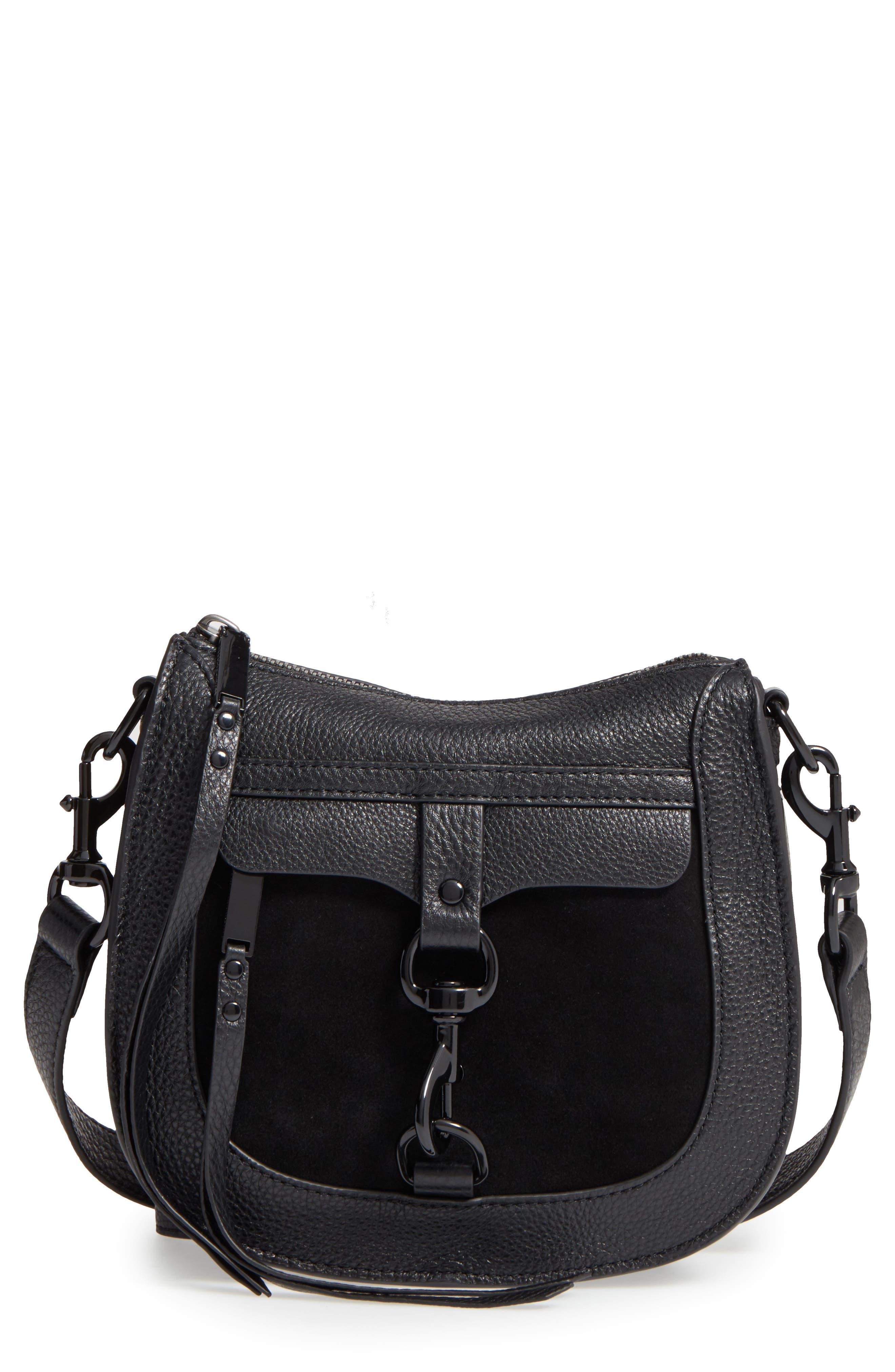 Main Image - Rebecca Minkoff Dog Clip Leather & Suede Saddle Bag (Nordstrom Exclusive)