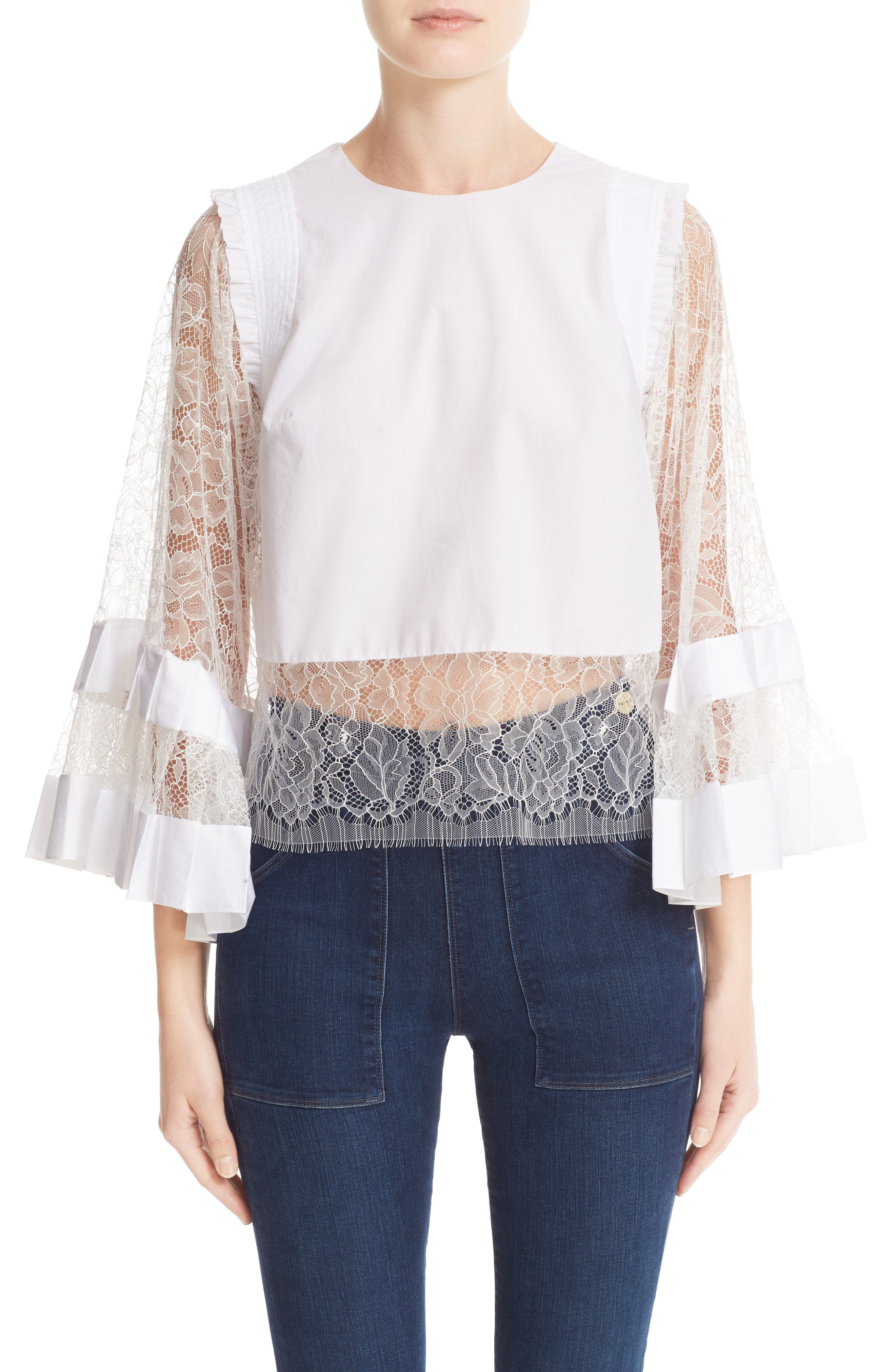 ADAM LIPPES Lace Trim Bell Sleeve Blouse