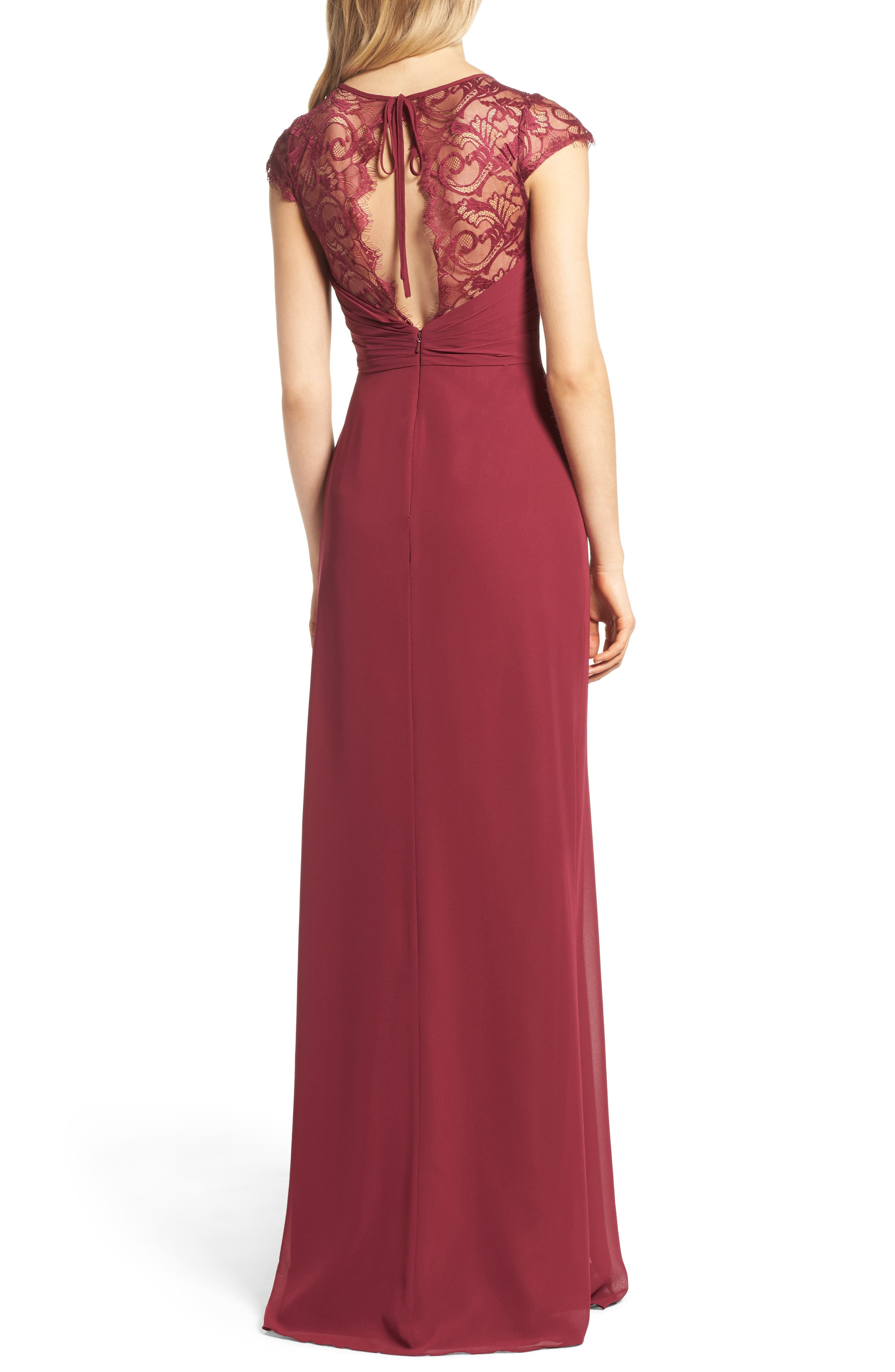 Alternate Image 2  - Hayley Paige Occasions Cap Sleeve Lace & Chiffon Gown