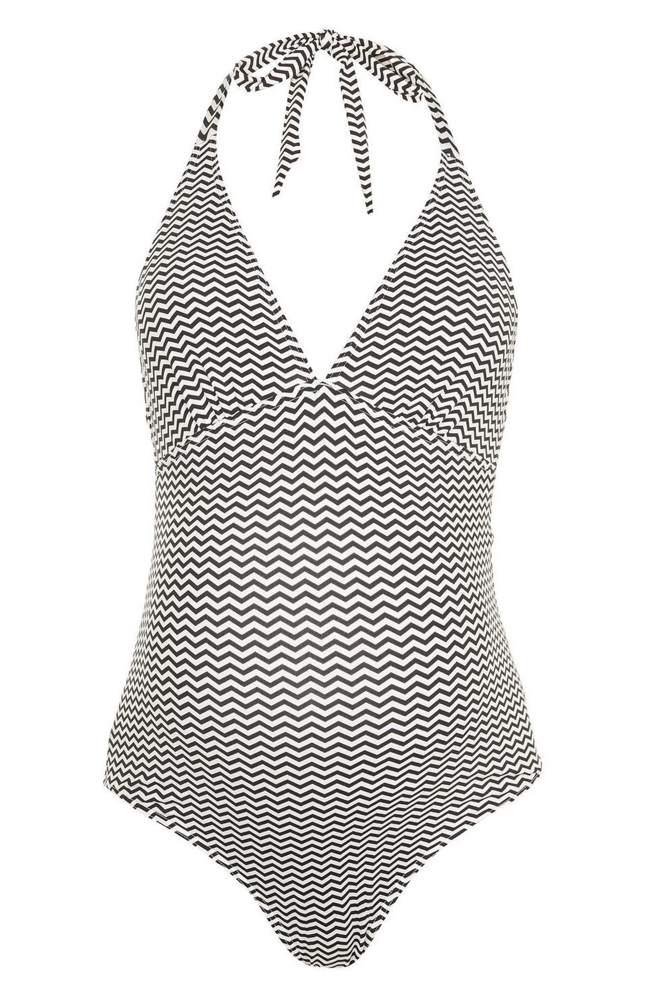 Topshop Zigzag Halter One-Piece Maternity Swimsuit