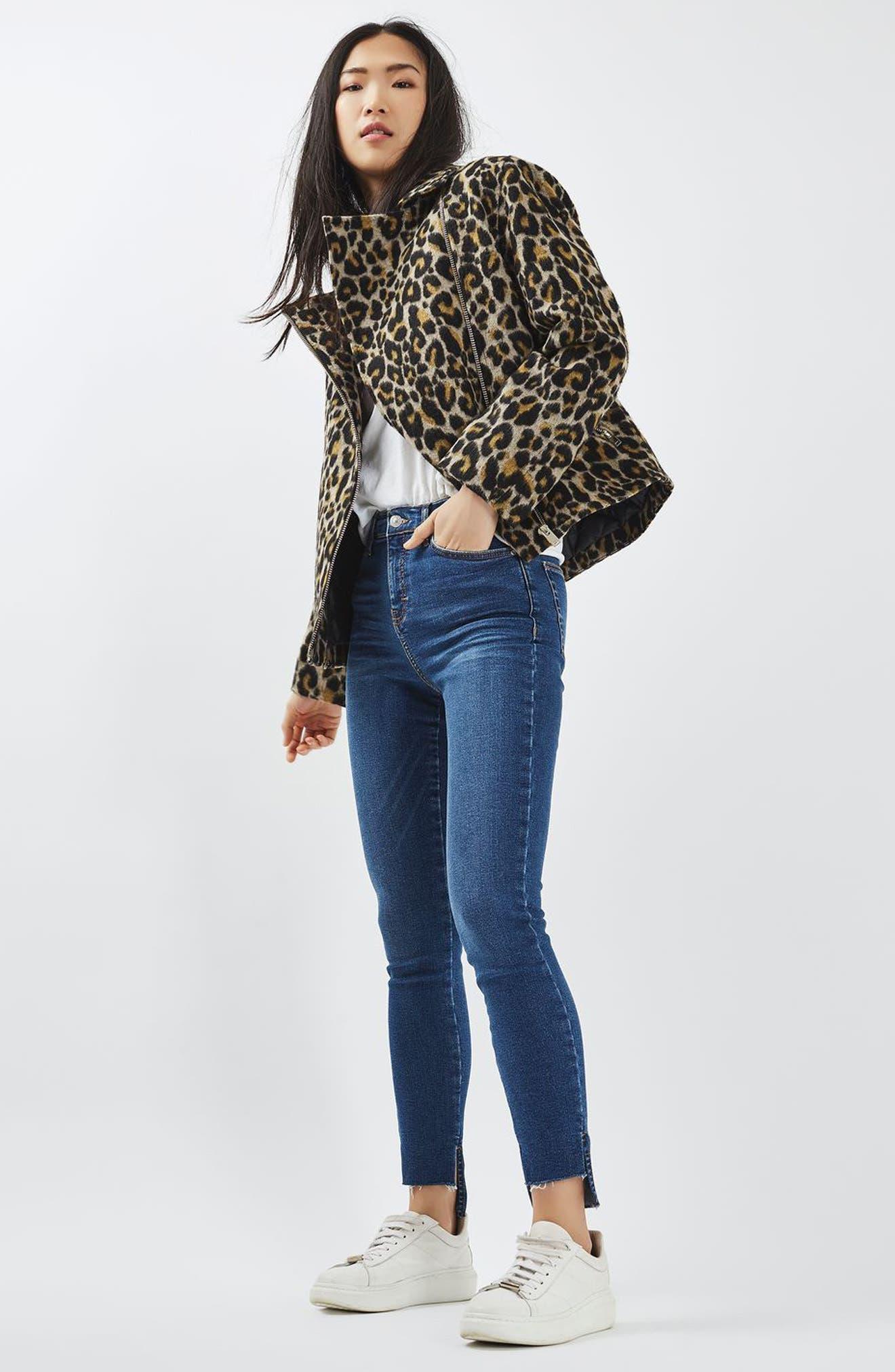 Alternate Image 2  - Topshop Leopard Print Biker Jacket