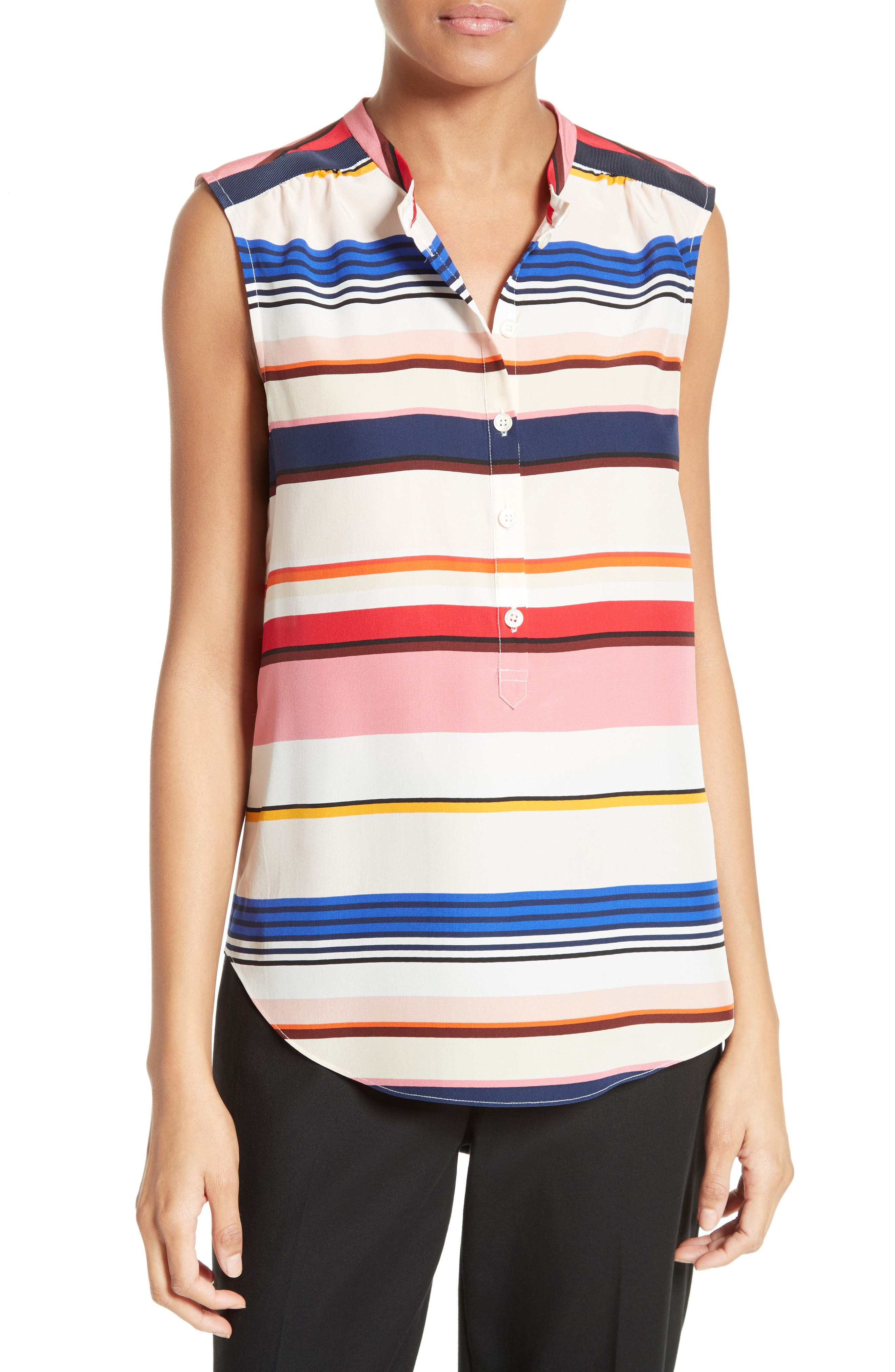 kate spade new york berber stripe silk top