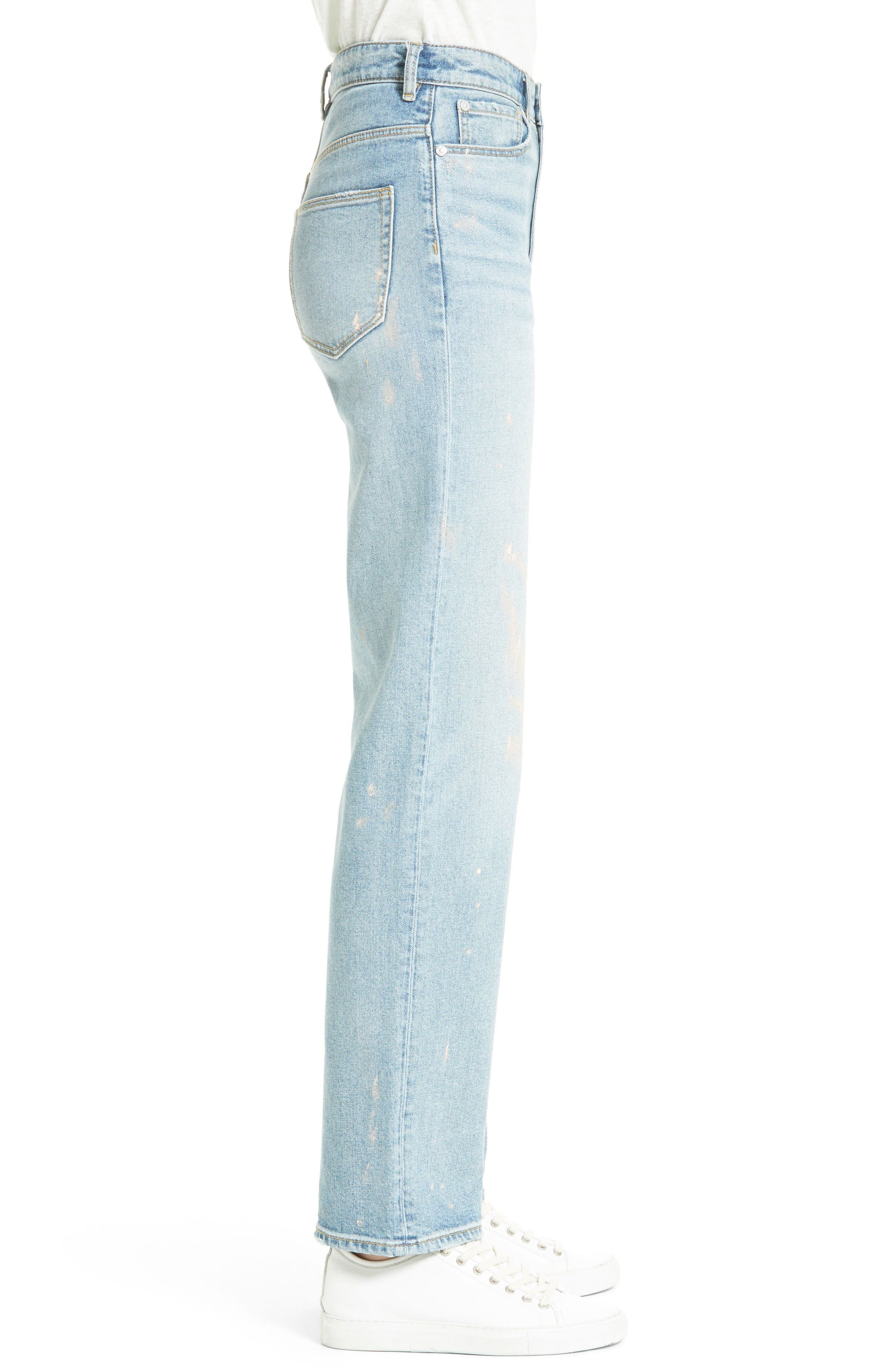 Alternate Image 5  - La Vie Rebecca Taylor Paint Splatter Straight Leg Jeans