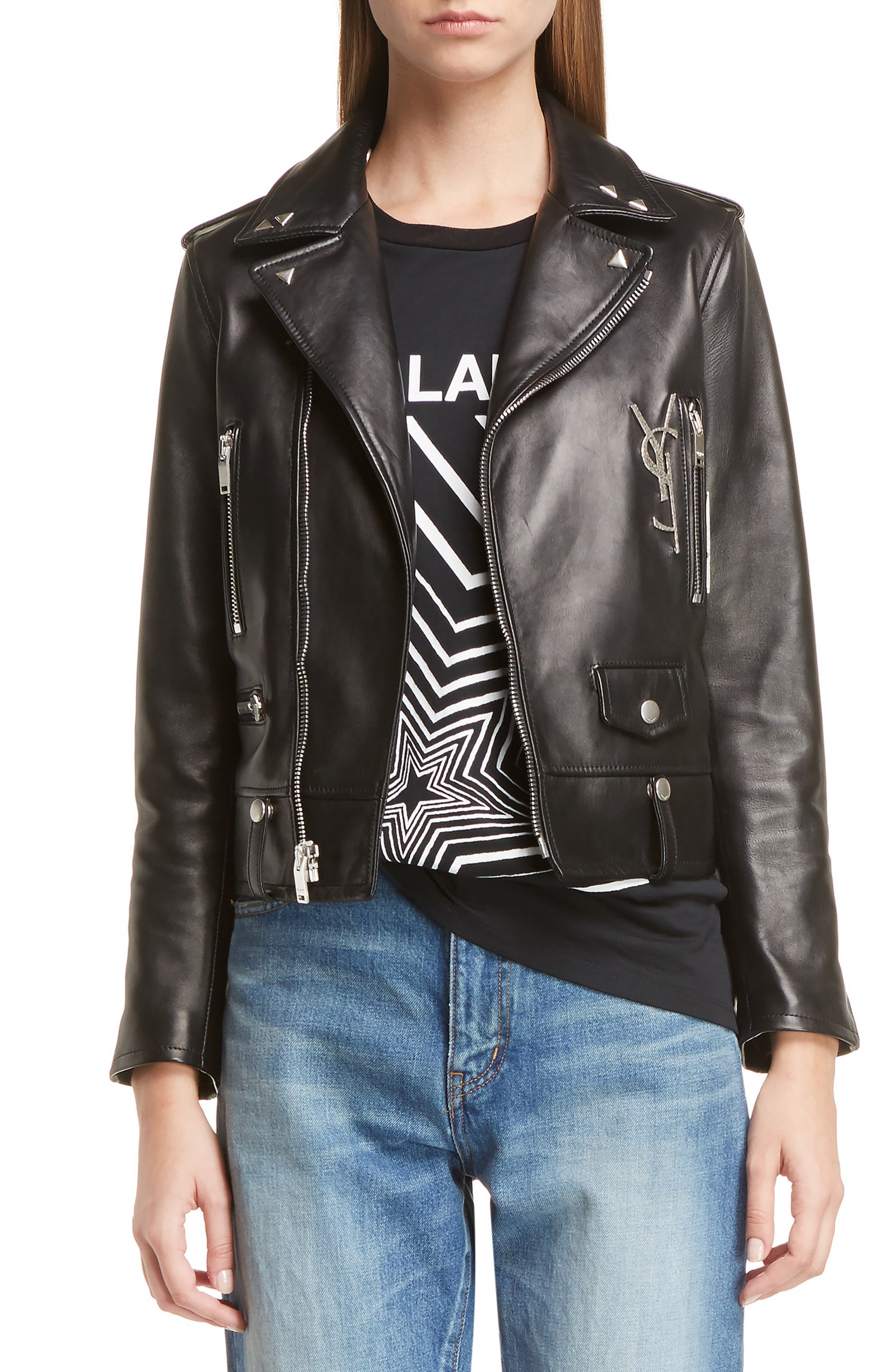 Alternate Image 1 Selected - Saint Laurent YSL Logo Classic Leather Moto Jacket