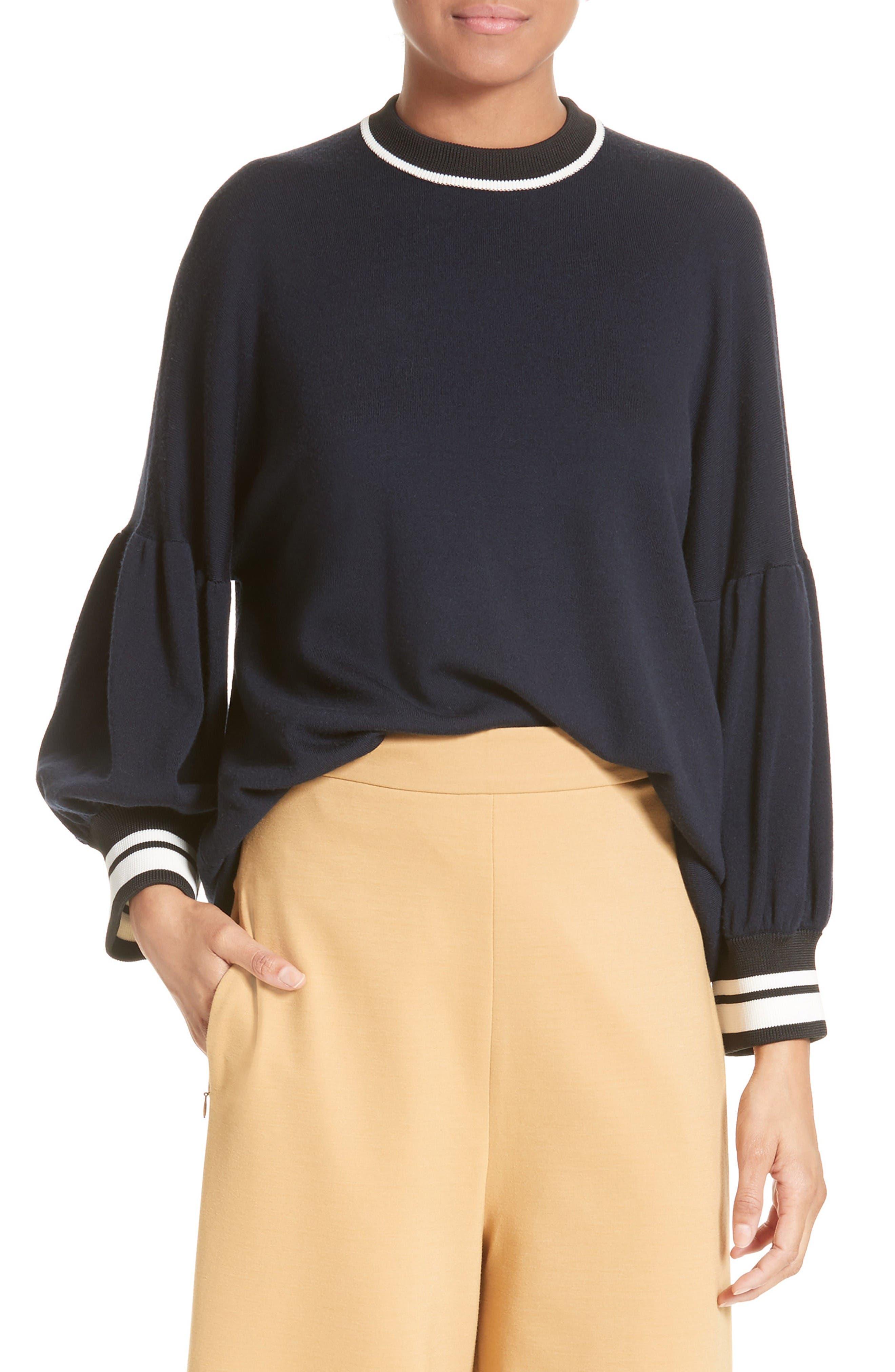 Tibi Wool Puff Sleeve Pullover