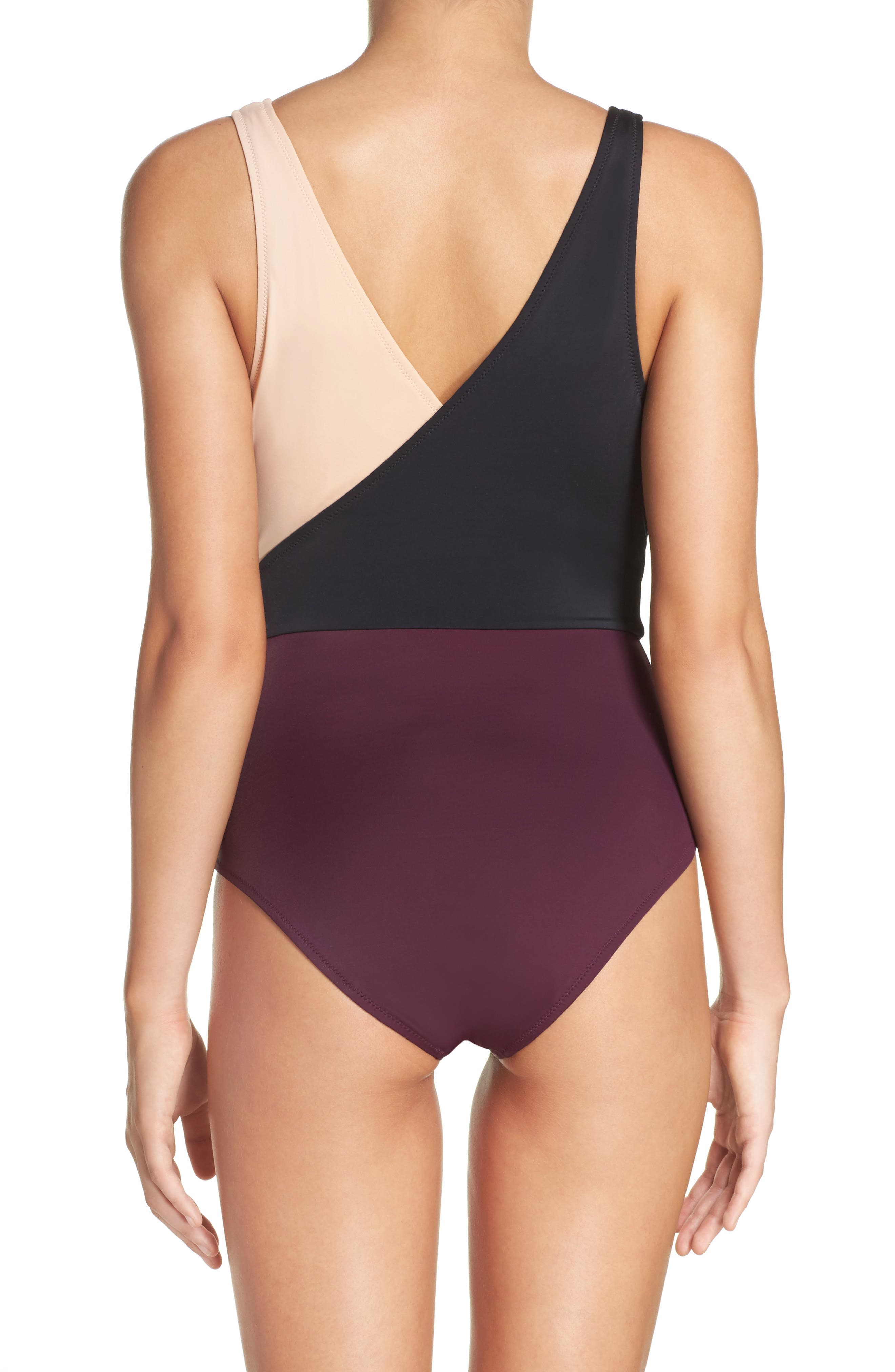 Alternate Image 2  - Solid & Striped Ballerina One-Piece Swimsuit