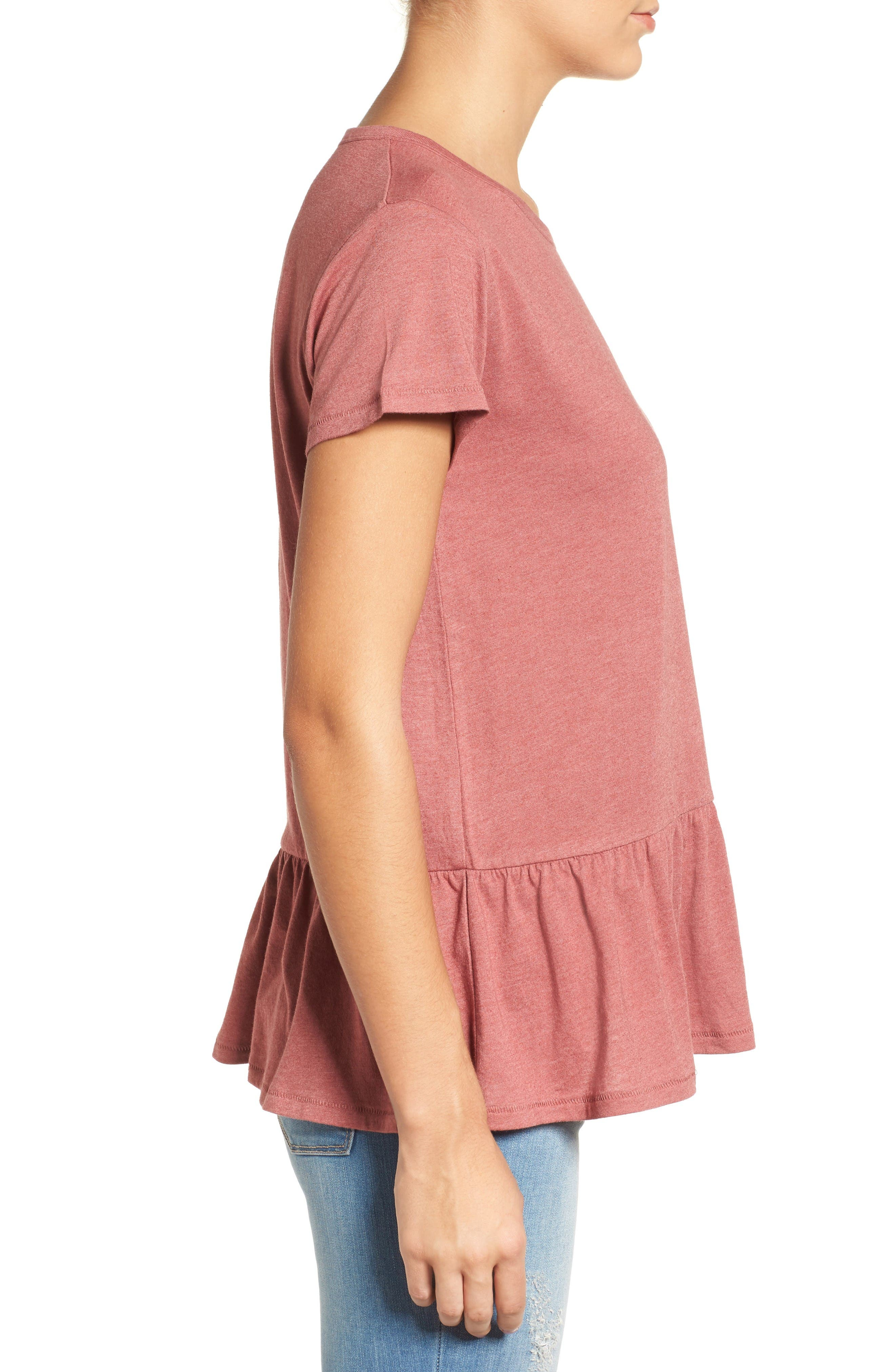 Alternate Image 3  - Caslon® Peplum Tee (Regular & Petite)