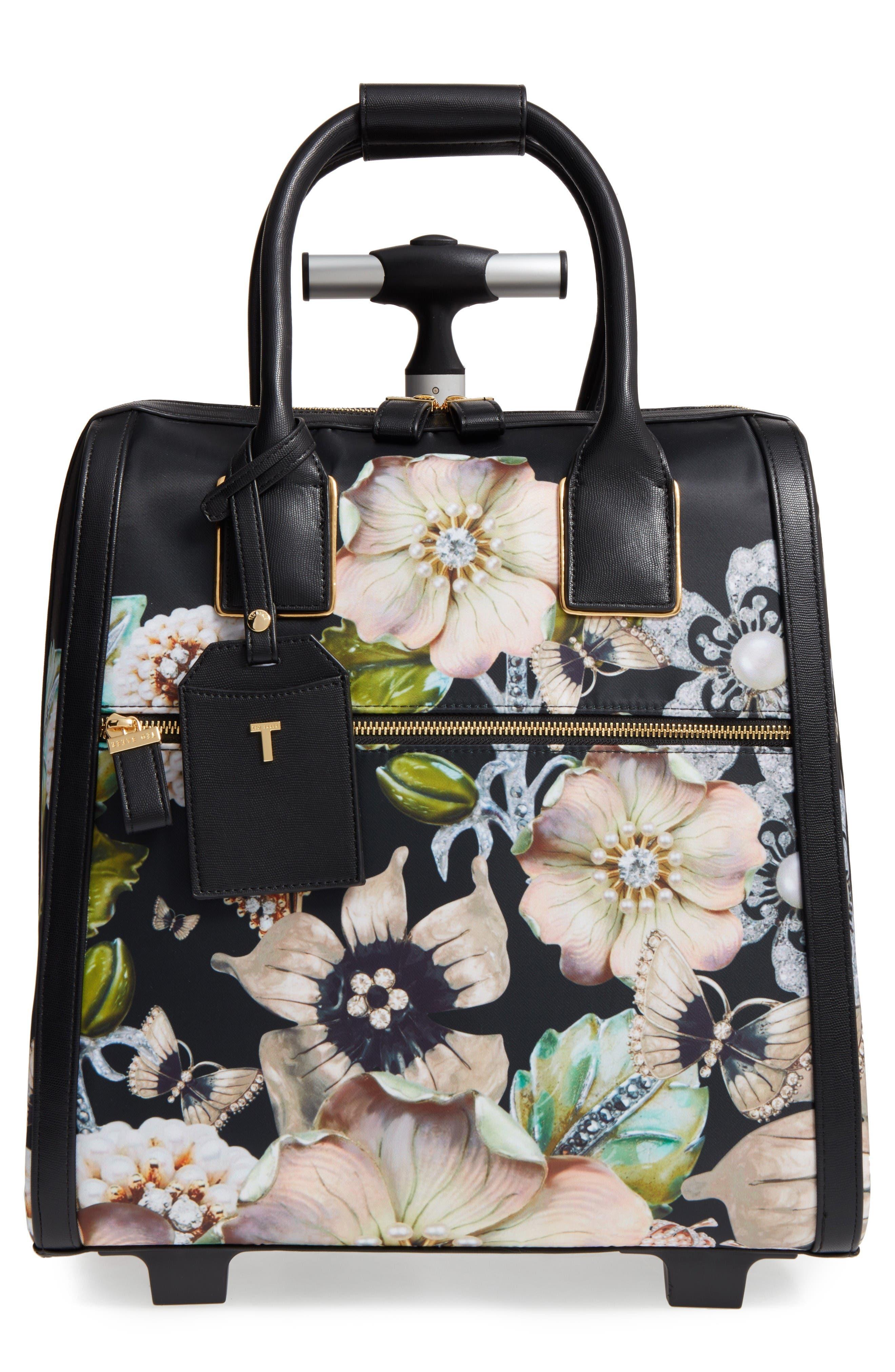 Main Image - Ted Baker London Inez Gem Gardens Two-Wheel Travel Bag (16 Inch)