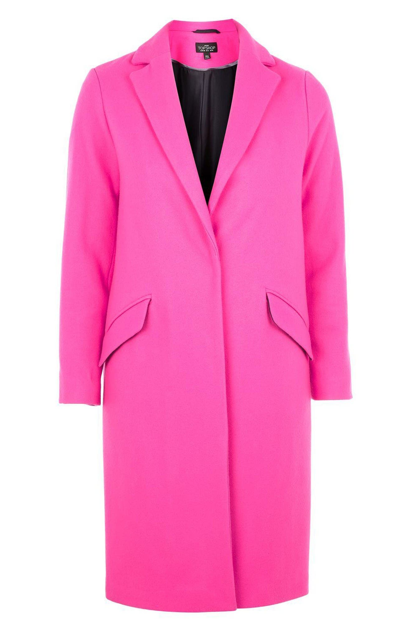 Alternate Image 4  - Topshop Neon Wool Blend Coat (Petite)