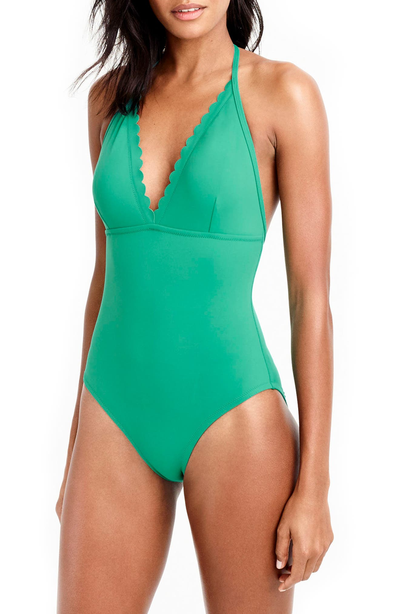 Alternate Image 1 Selected - J.Crew Scallop One-Piece Swimsuit