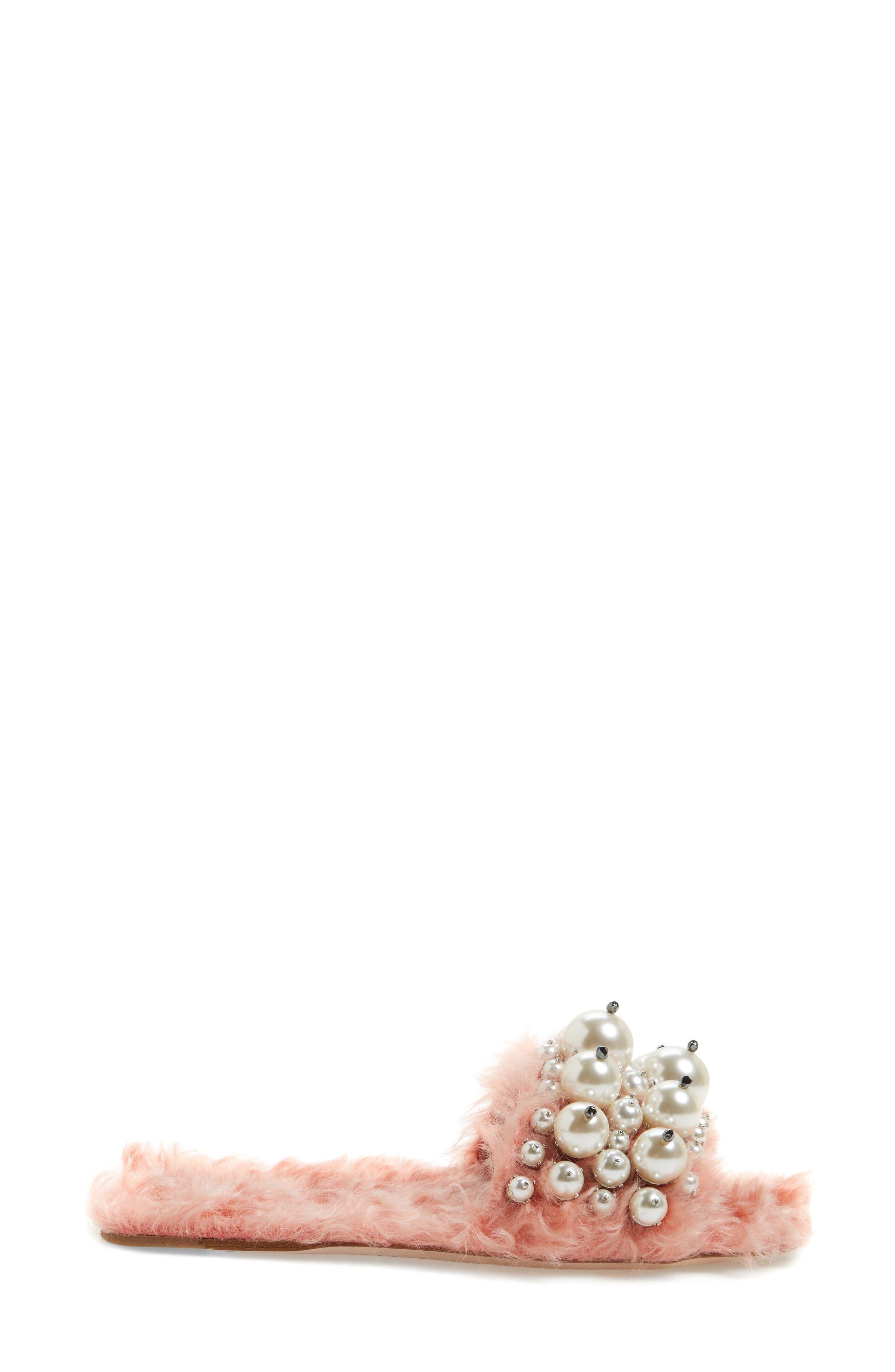 Alternate Image 4  - Miu Miu Embellished Faux Fur Slipper (Women)