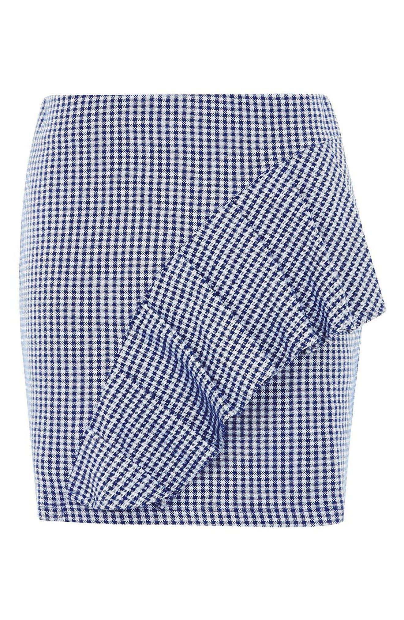 Alternate Image 5  - Topshop Gingham Ruffle Miniskirt