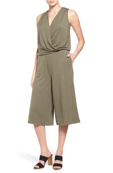 Halogen® Sleeveless Jersey Crop Jumpsuit