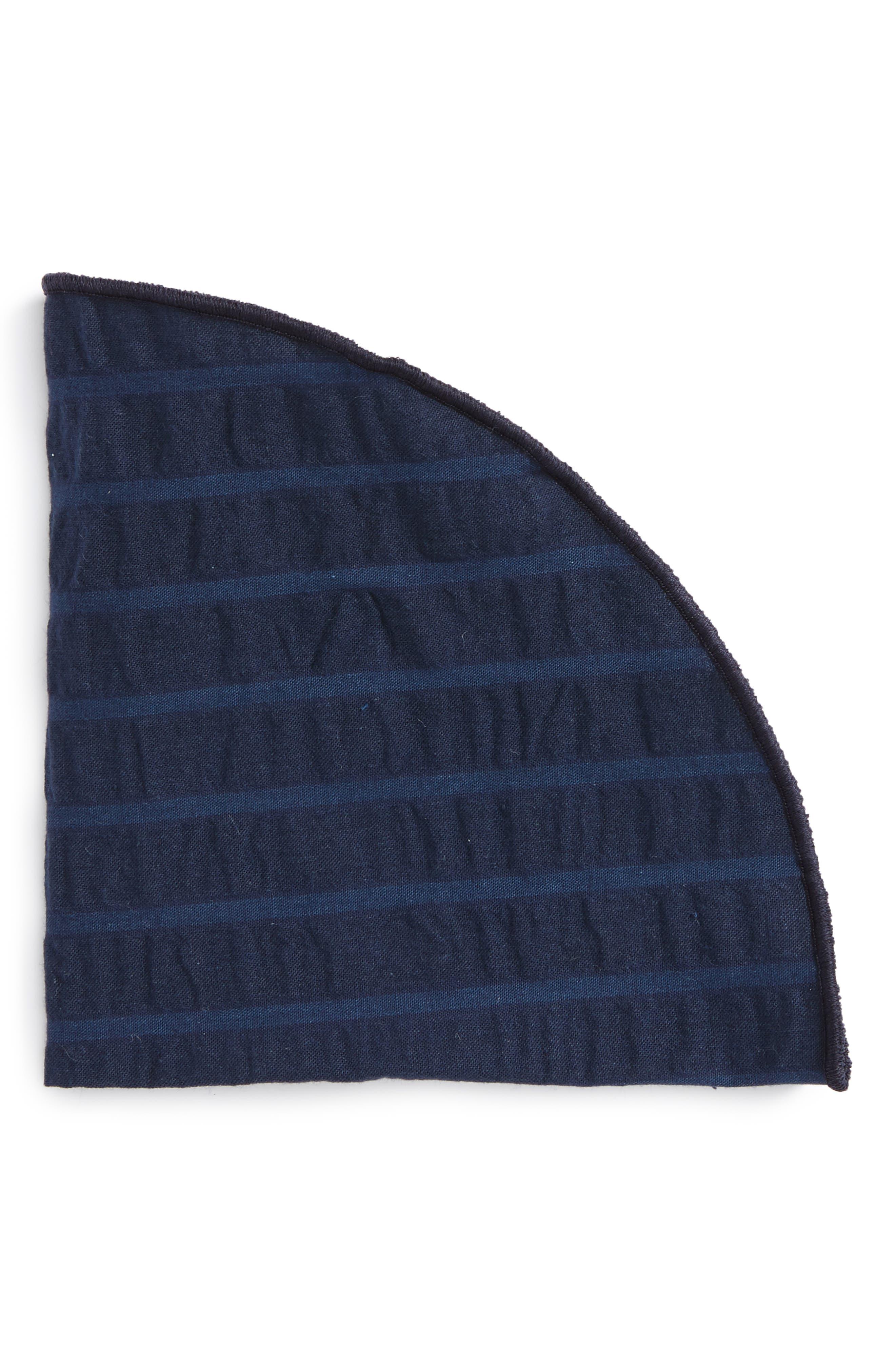ALEXANDER OLCH Stripe Seersucker Pocket Round