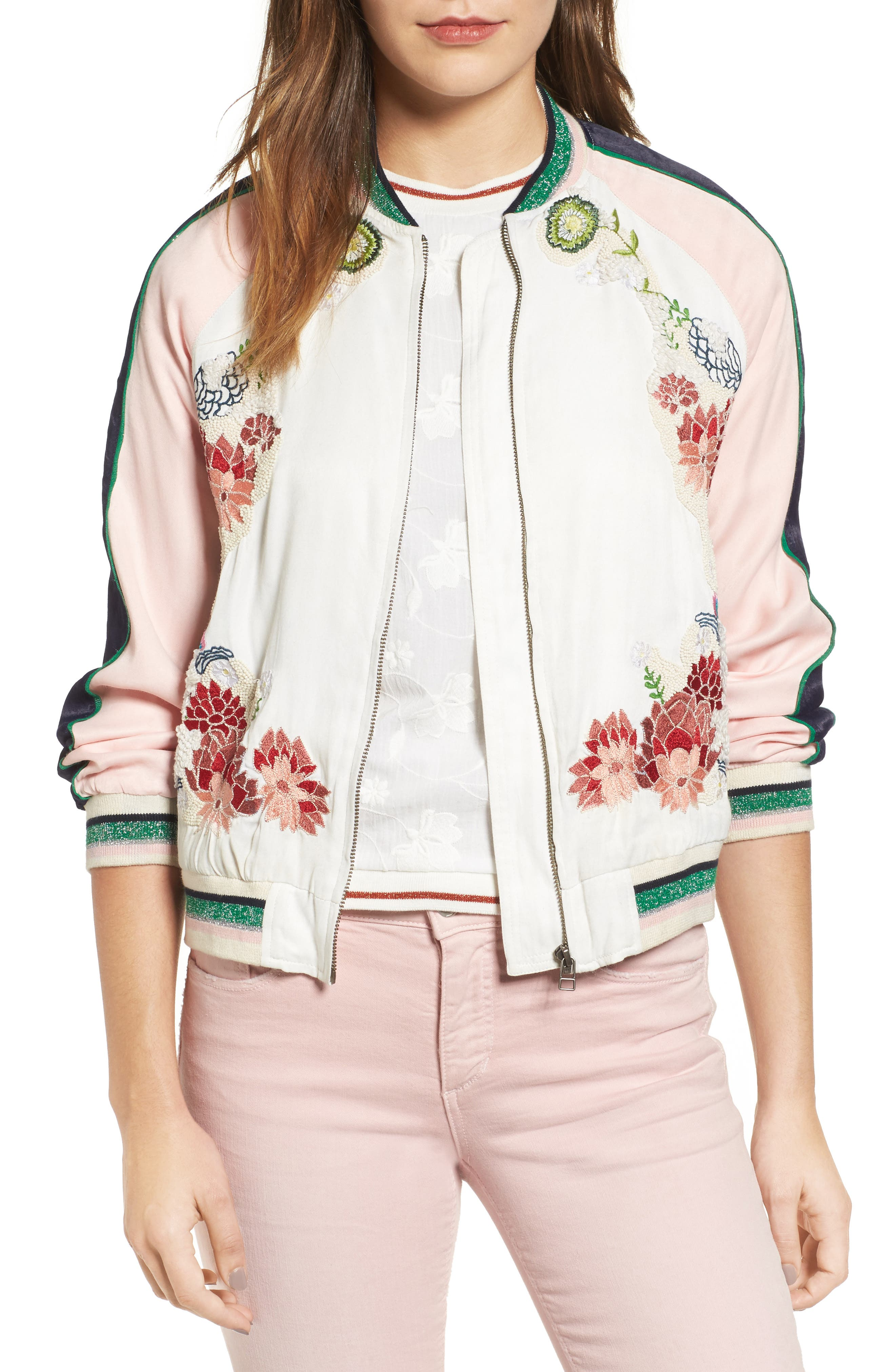Main Image - Paul & Joe Sister Les Fleurs Embroidered Bomber Jacket