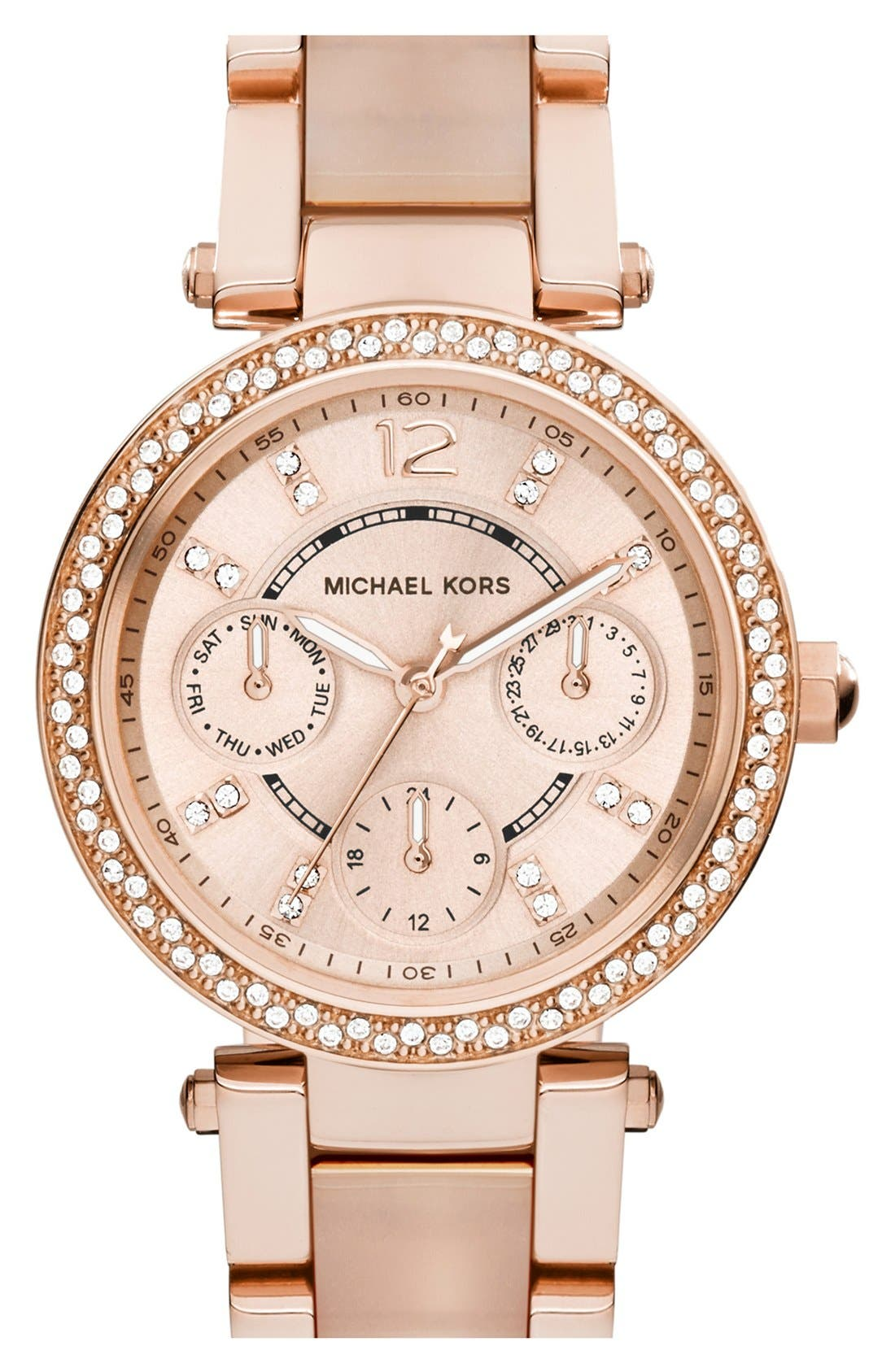 Alternate Image 1 Selected - Michael Kors 'Parker - Mini' Multifunction Watch, 33mm